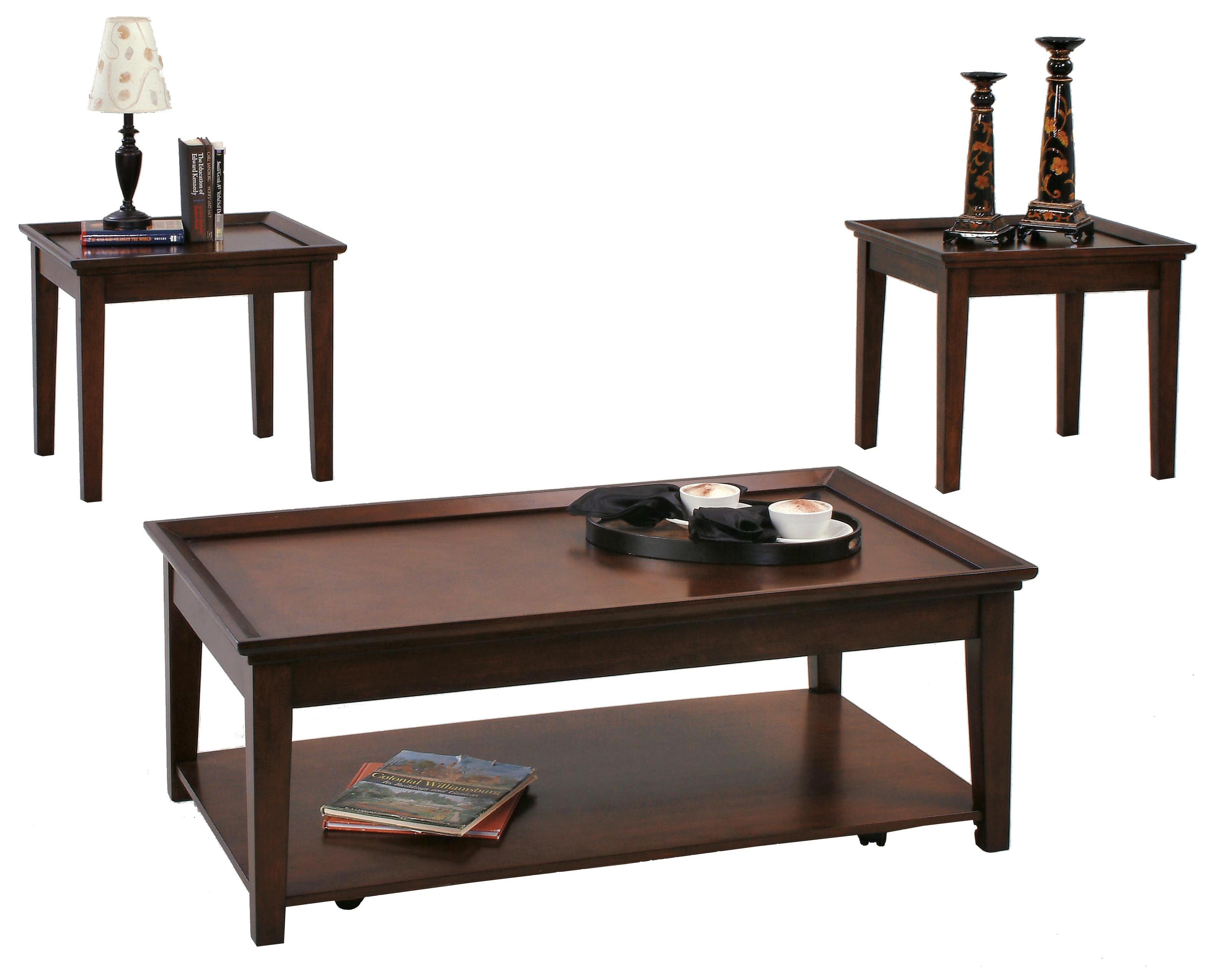 Wonderful image of Progressive Furniture Encore 3 Piece Occasional Table Set with 2 End  with #33261E color and 3263x2633 pixels