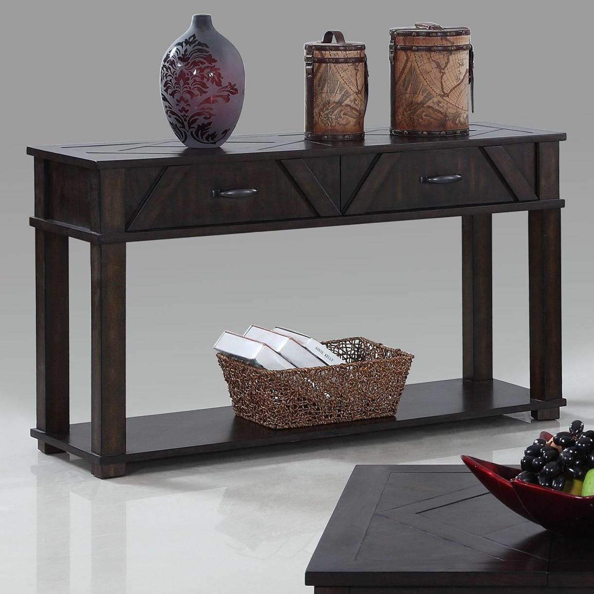 Progressive furniture foxcroft rustic sofa console table for Sofa table rules