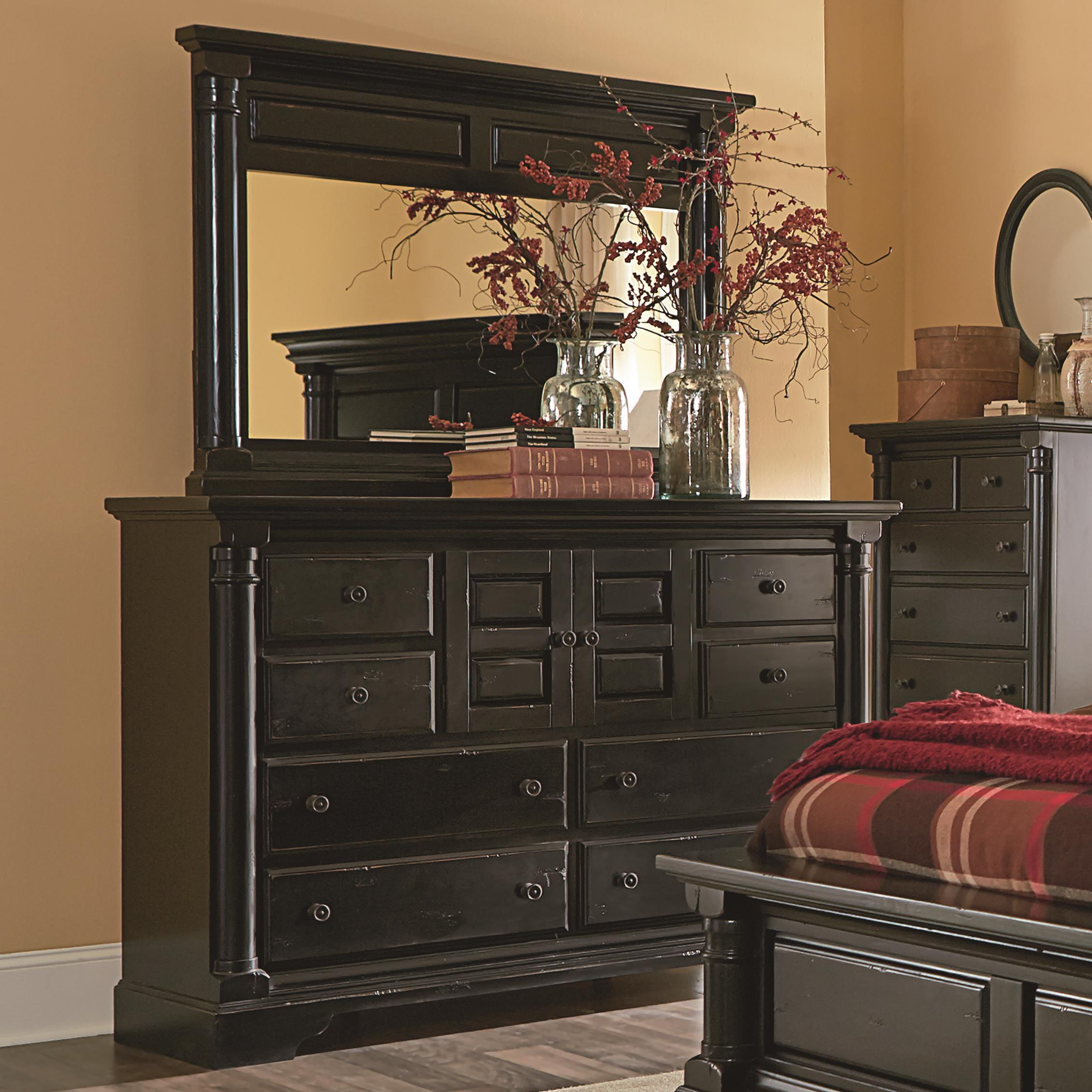 Progressive Furniture Gramercy Park Traditional Dresser With Panel Doors And Drawers And Mirror