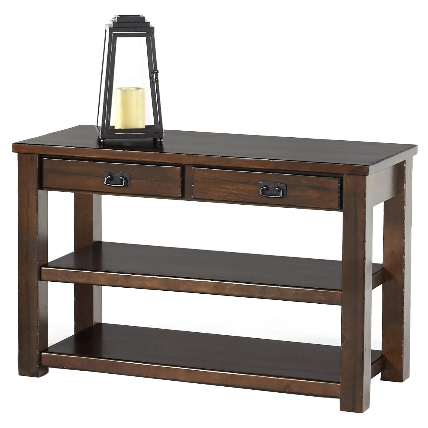 Progressive furniture trestlewood sofa console table with for Sofa table rules