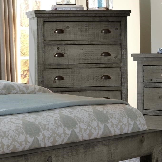 Progressive furniture willow distressed pine chest miskelly furniture drawer chests for Distressed pine bedroom furniture