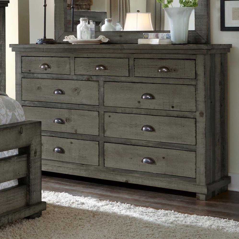 Progressive furniture willow distressed pine drawer dresser miskelly furniture dressers for Distressed pine bedroom furniture