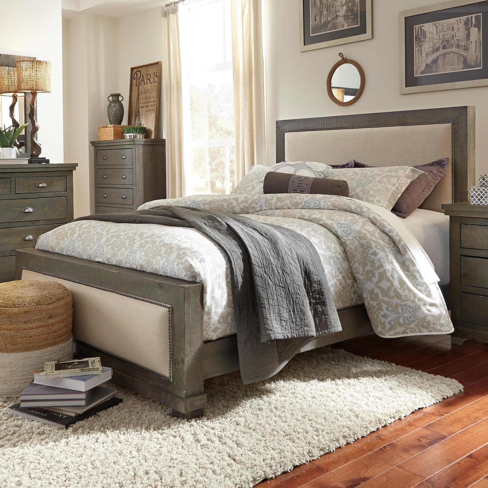 Progressive Furniture Willow Queen Upholstered Bed With Distressed Pine Frame Miskelly