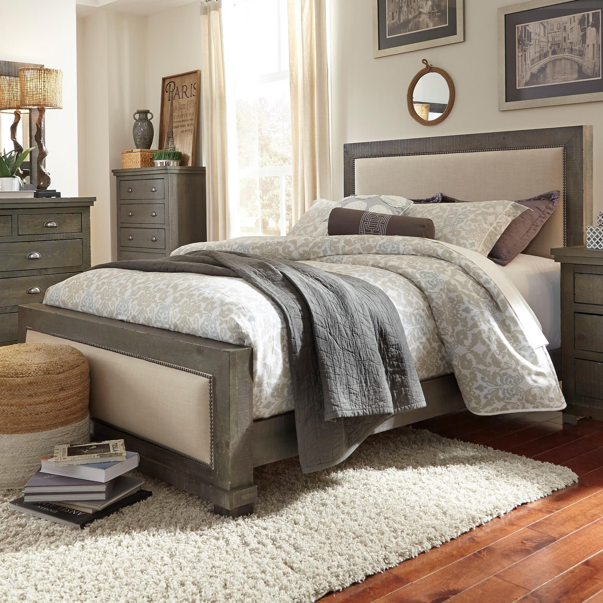 Progressive furniture willow king upholstered bed with distressed pine frame miskelly for Distressed pine bedroom furniture