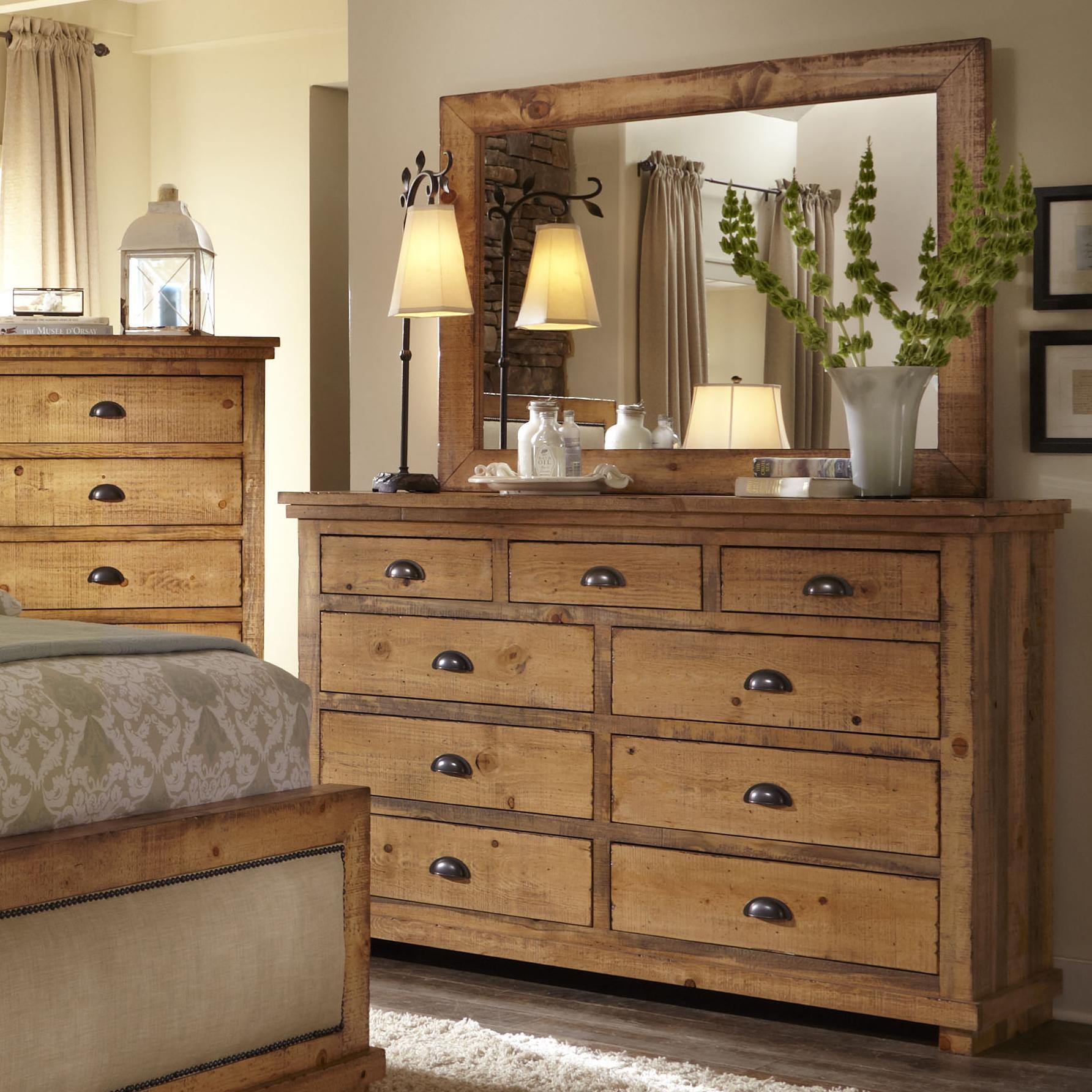Progressive Furniture Willow Distressed Pine Drawer Dresser Mirror Zak 39 S Fine Furniture