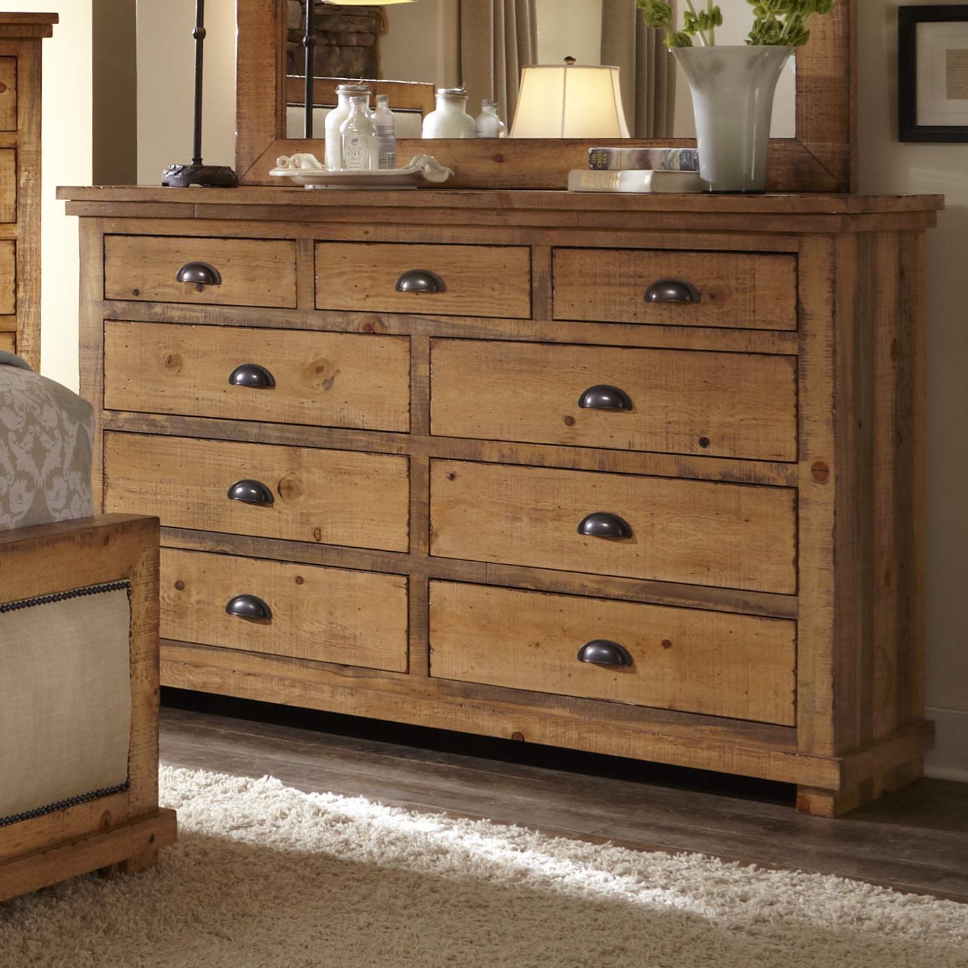 distressed pine drawer dresser willow by progressive furniture wilcox furniture dressers. Black Bedroom Furniture Sets. Home Design Ideas