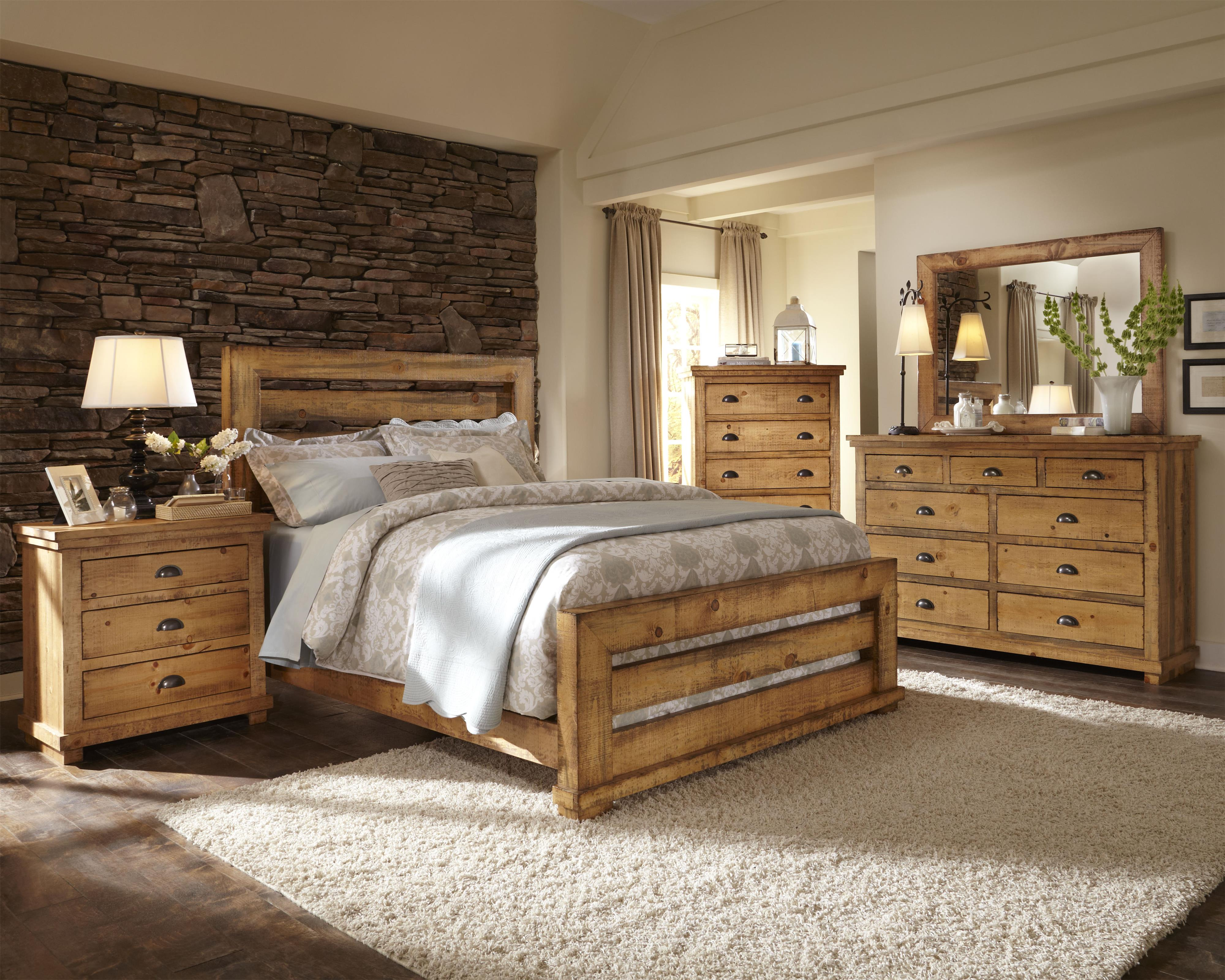 Progressive furniture willow king slat bed with distressed pine frame colder 39 s furniture and for Distressed pine bedroom furniture
