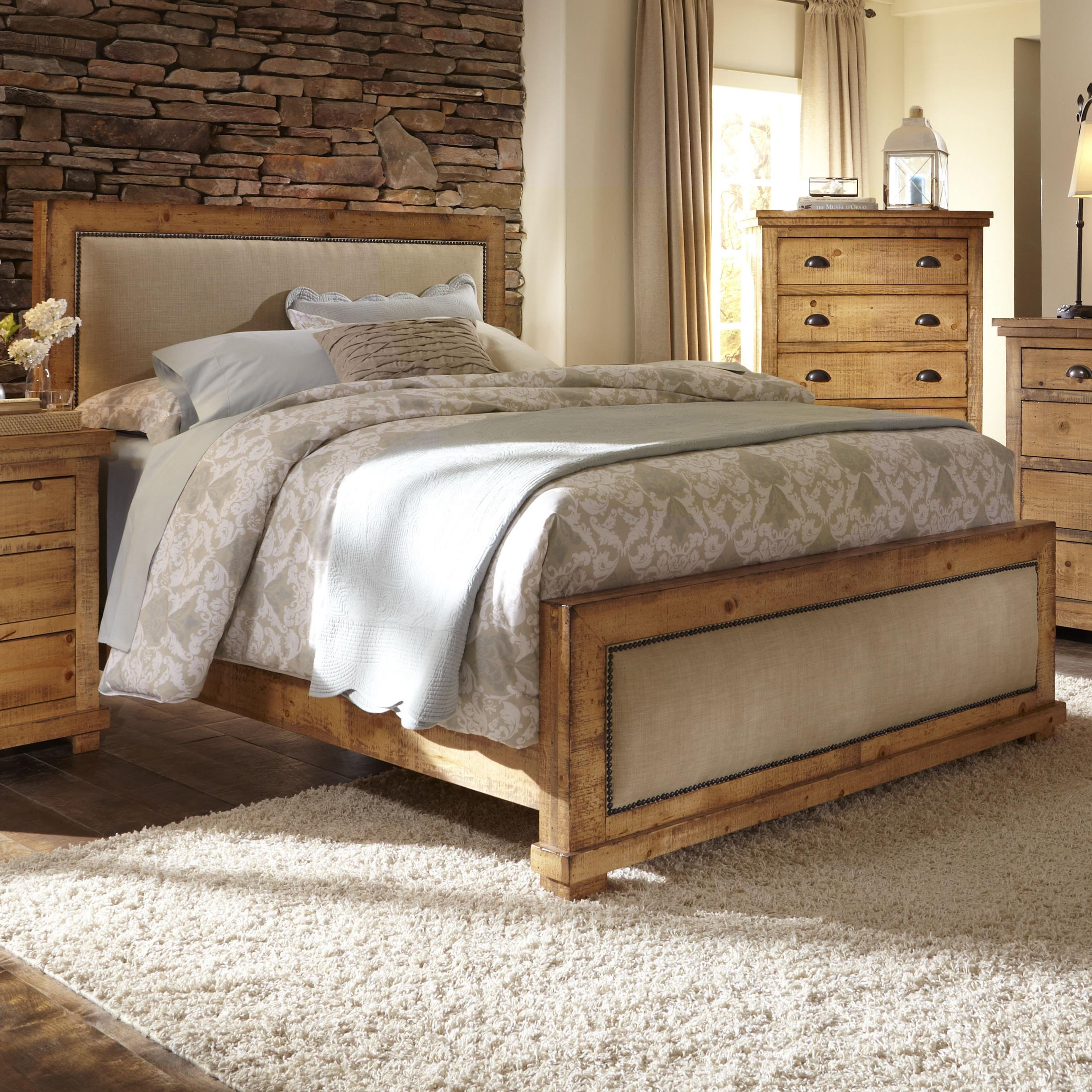 Progressive Furniture Willow King Upholstered Bed With Distressed Pine Frame Miskelly