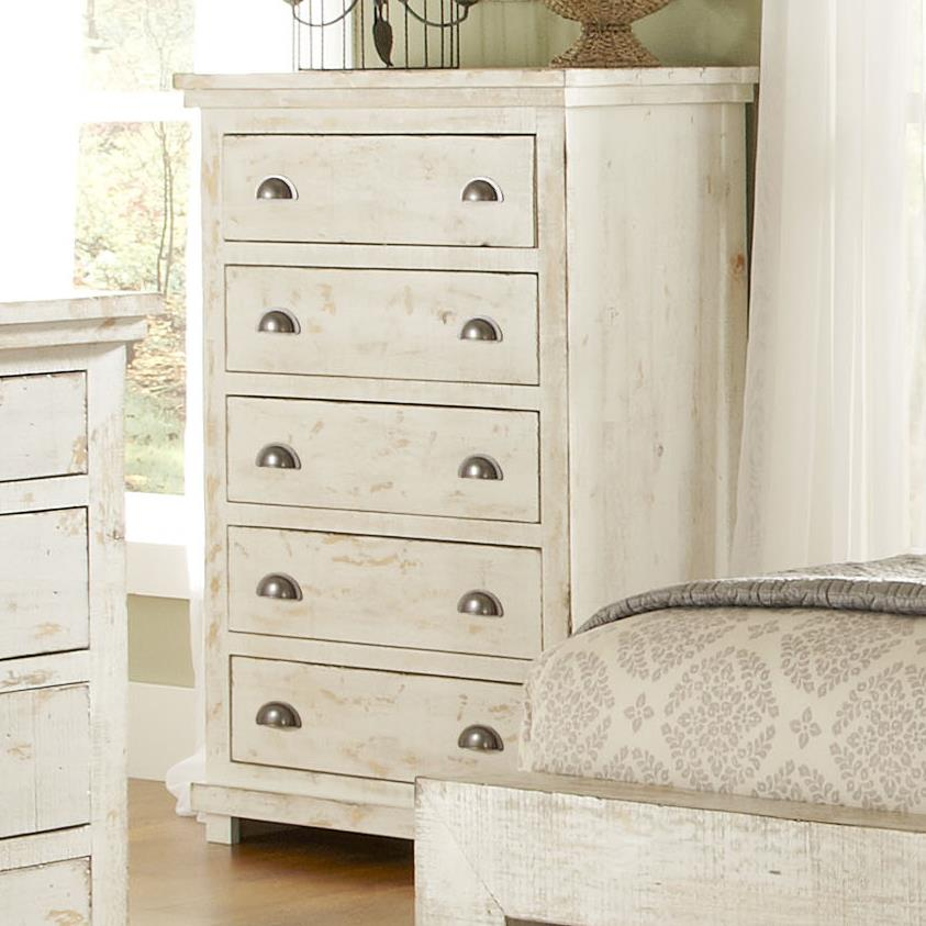 Progressive Furniture Willow Distressed Pine Chest Miskelly Furniture Drawer Chests