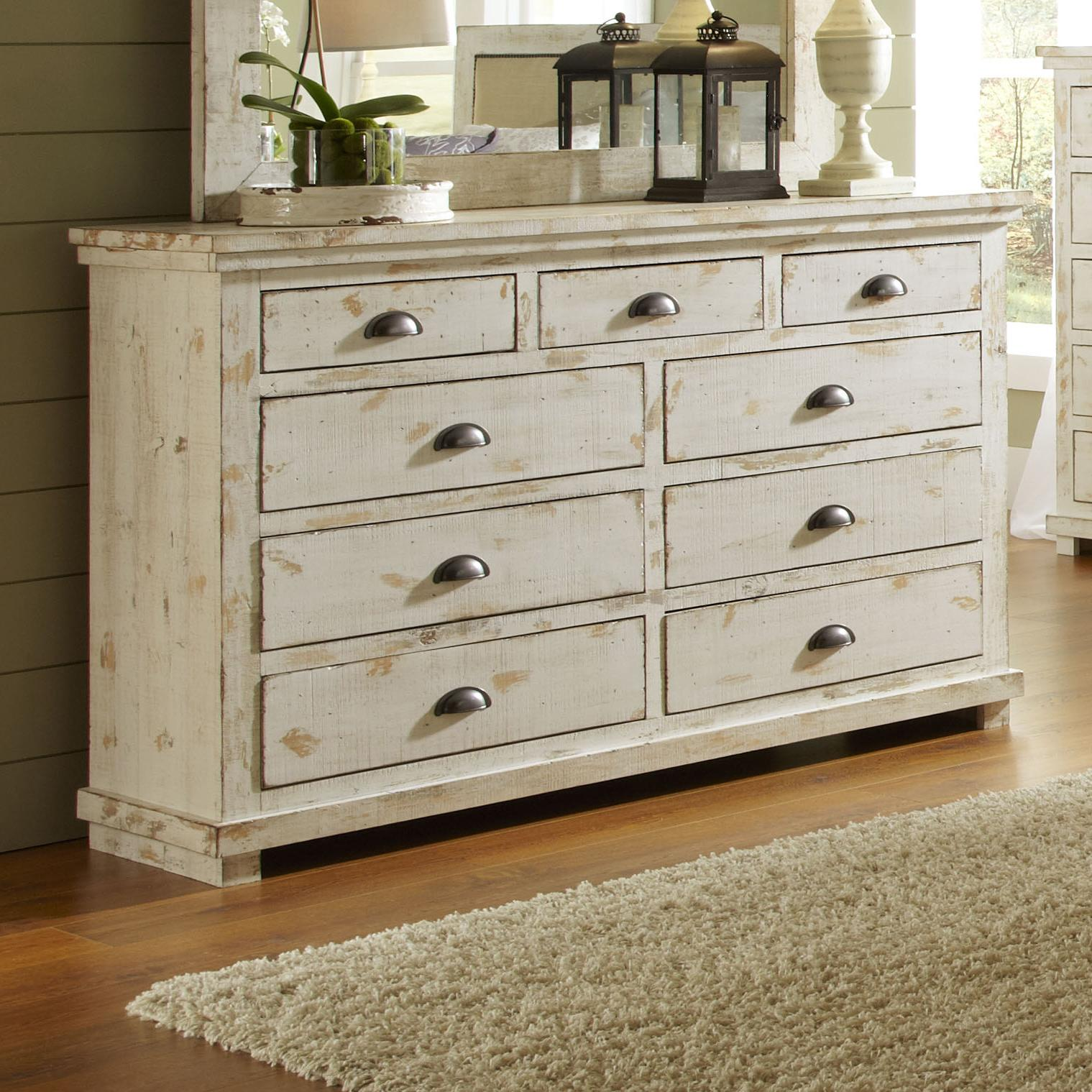 Progressive furniture willow distressed pine drawer dresser wayside furniture dressers for Distressed pine bedroom furniture