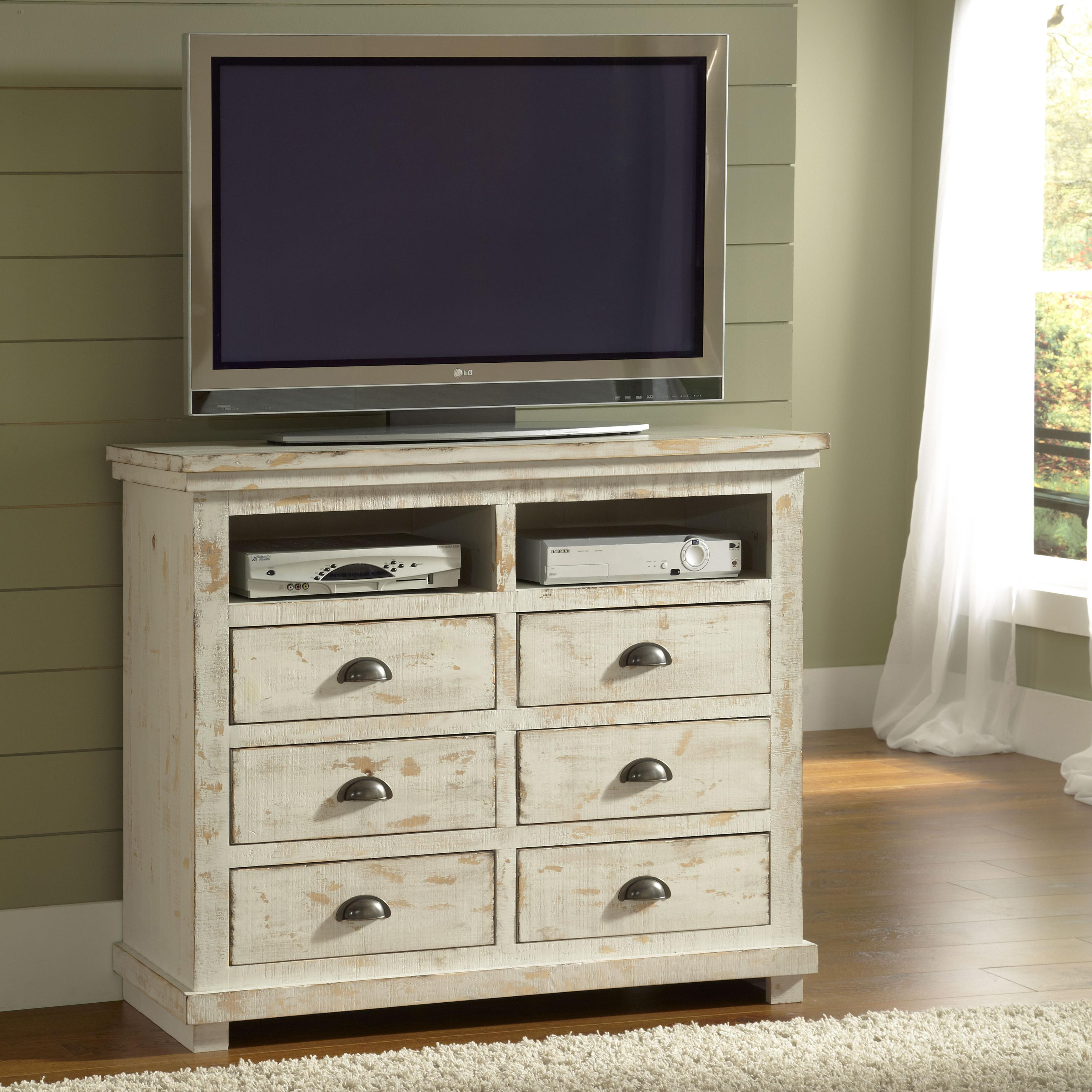 Progressive Furniture Willow Distressed Pine Media Chest Miskelly Furniture Media Chests