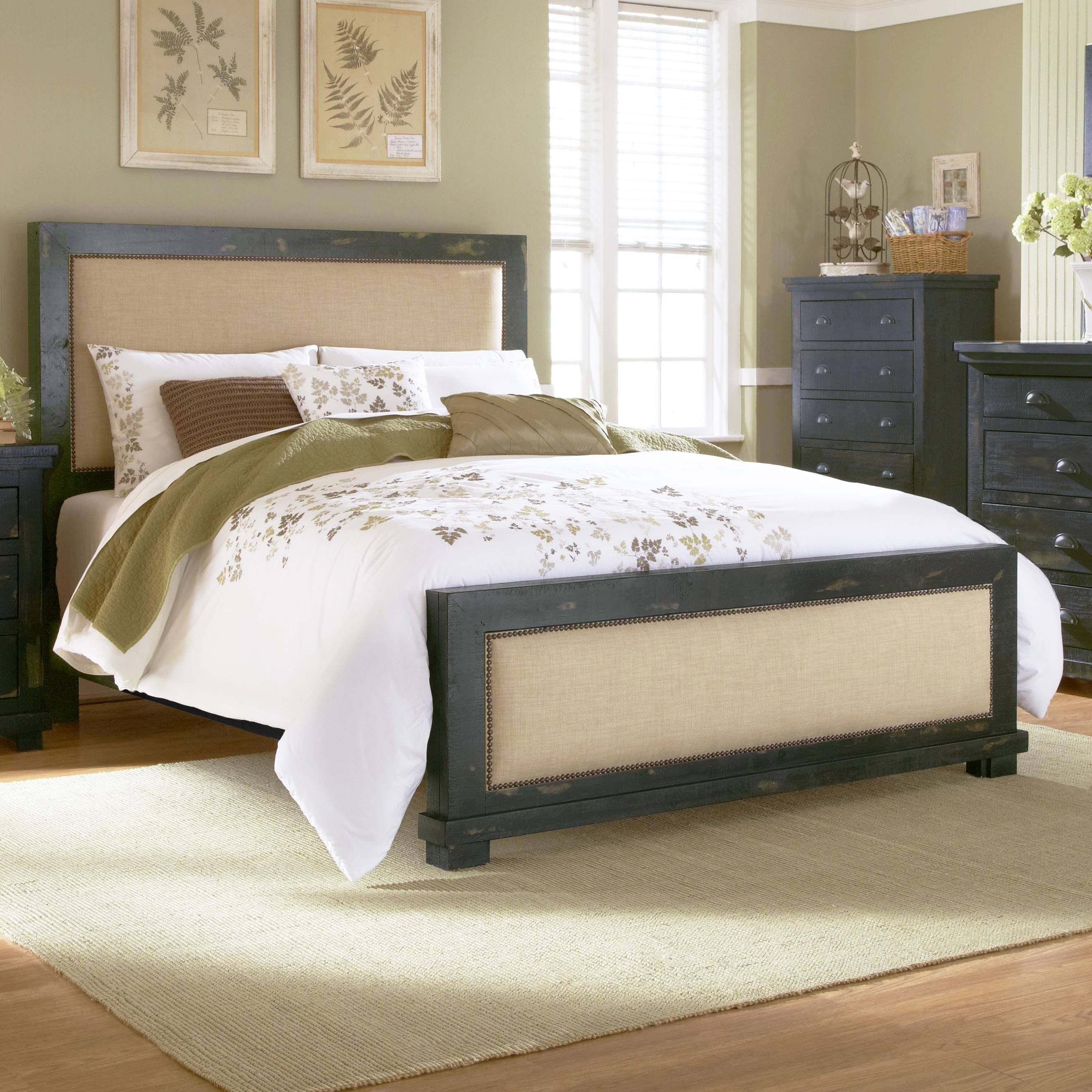 Progressive Furniture Willow Queen Upholstered Bed With Distressed Pine Frame Hudson 39 S