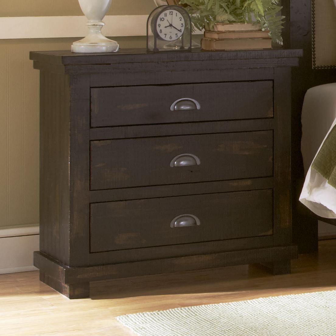 Progressive furniture willow p612 43 distressed pine for Bedroom furniture night stands