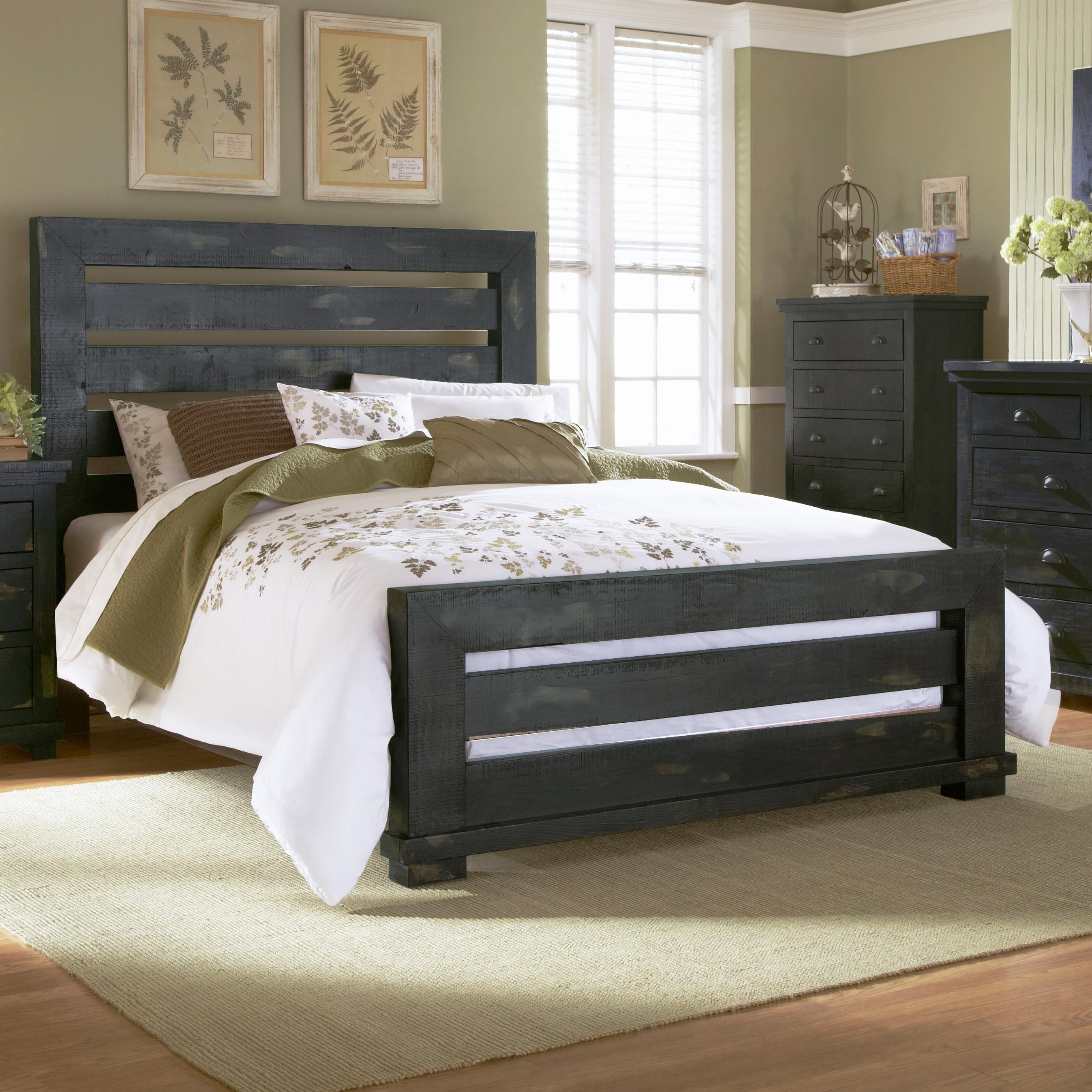 Progressive furniture willow queen slat bed with distressed pine frame vandrie home for Distressed pine bedroom furniture