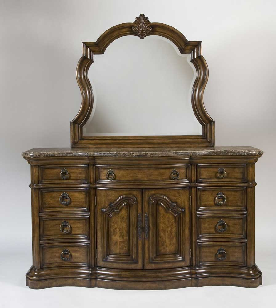 Pulaski furniture san mateo nine drawer marble top dresser for Pulaski furniture