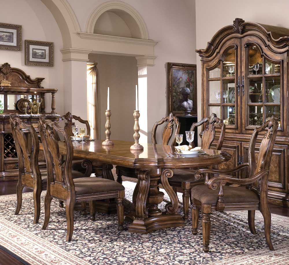 Pulaski furniture san mateo seven piece double pedestal oval top dining table and chair set for Table and chair set for bedroom