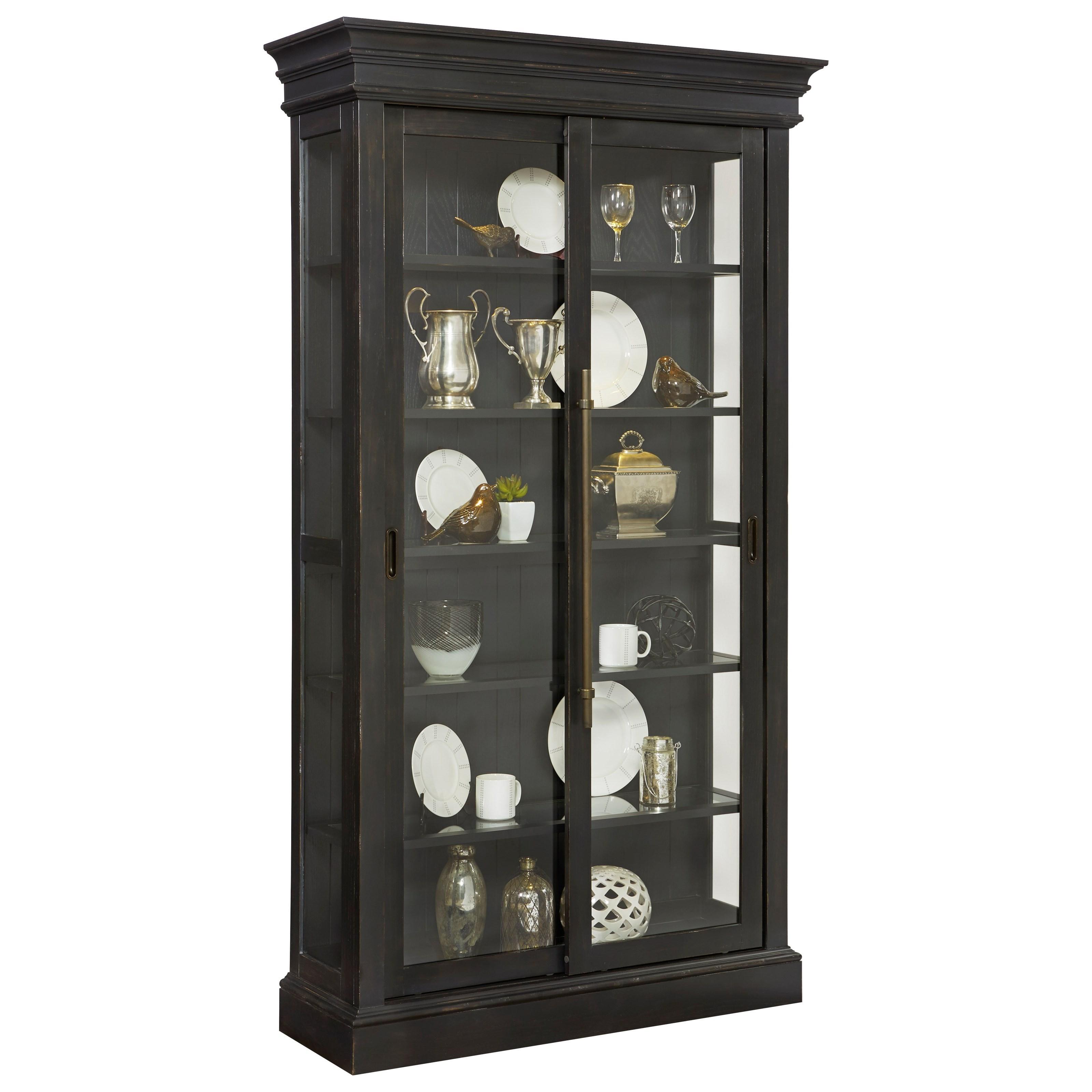 Pulaski furniture curios sliding door curio in charcoal for Curio cabinet
