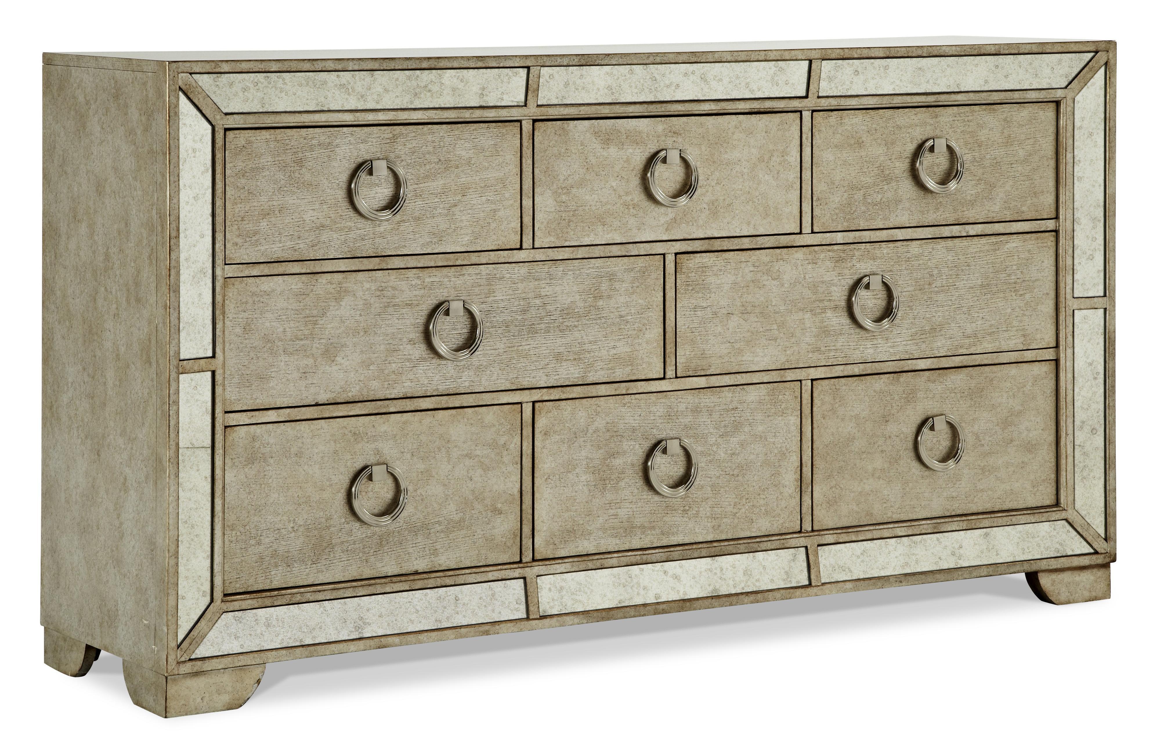 Pulaski furniture farrah platnum 8 drawer dresser w ring for Bedroom bureau knobs