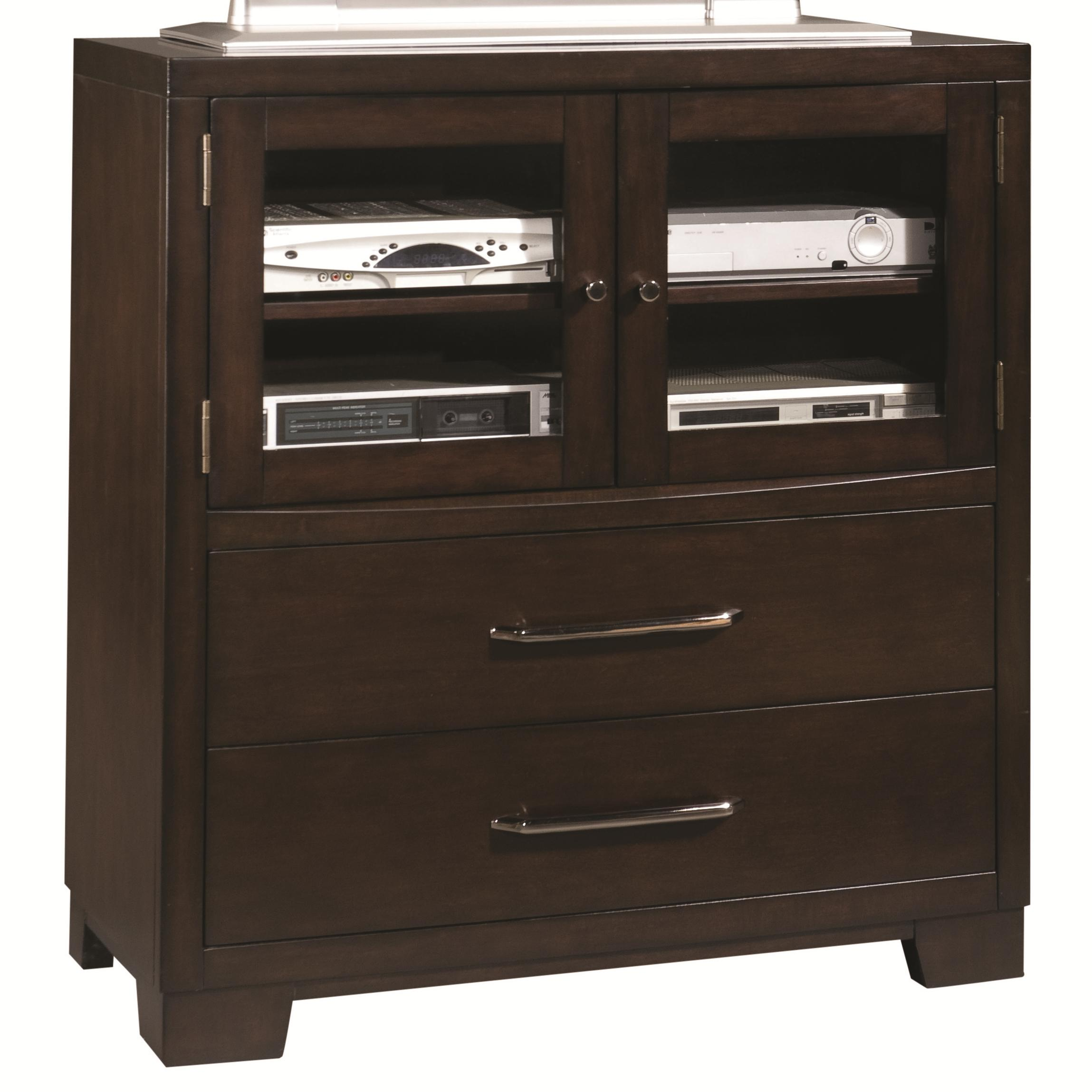 pulaski furniture accents 330145 media chest with two drawer and component shelves dunk. Black Bedroom Furniture Sets. Home Design Ideas