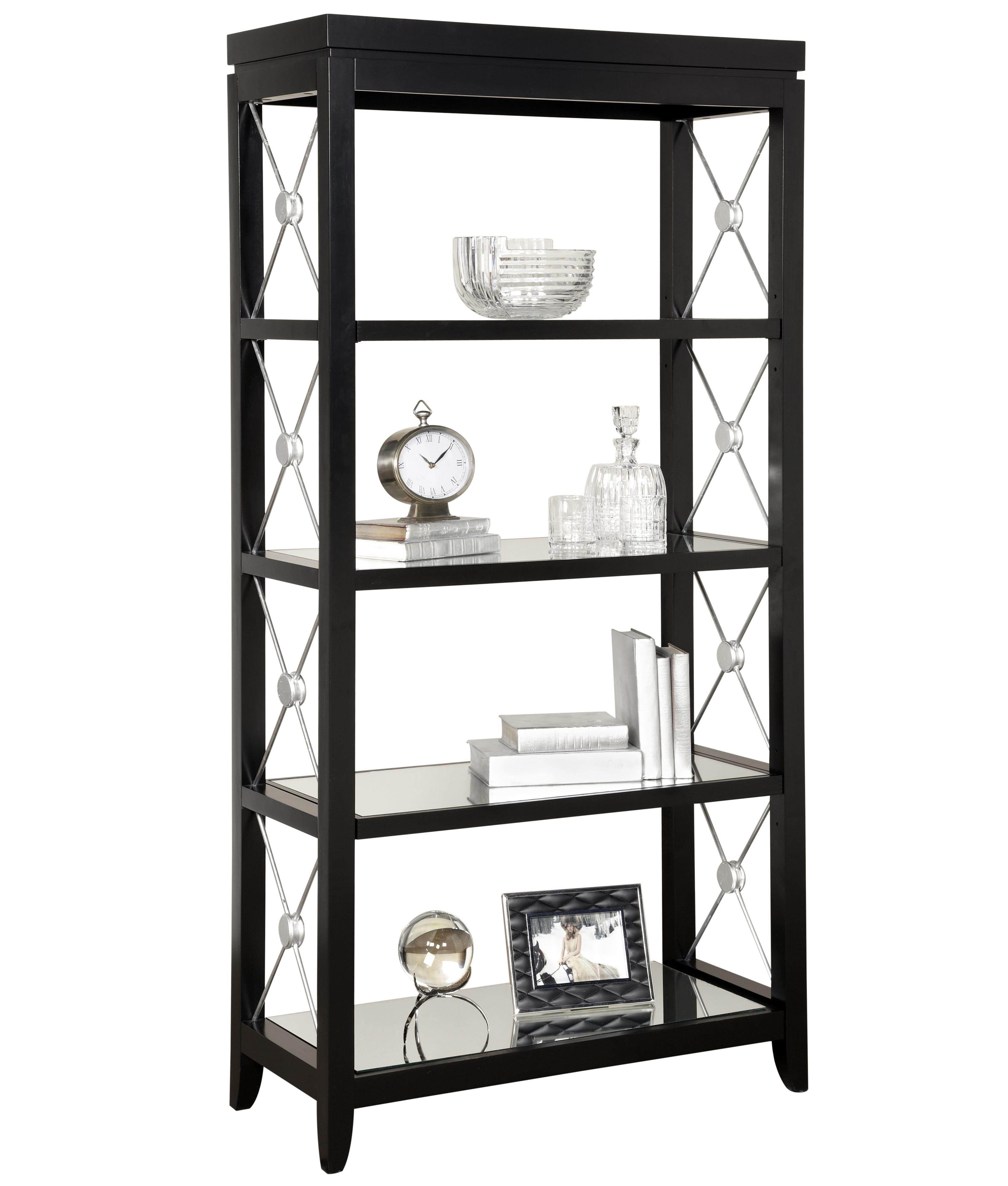 pulaski furniture accents trenton finish etagere with mirrored shelves and decorative metal x. Black Bedroom Furniture Sets. Home Design Ideas