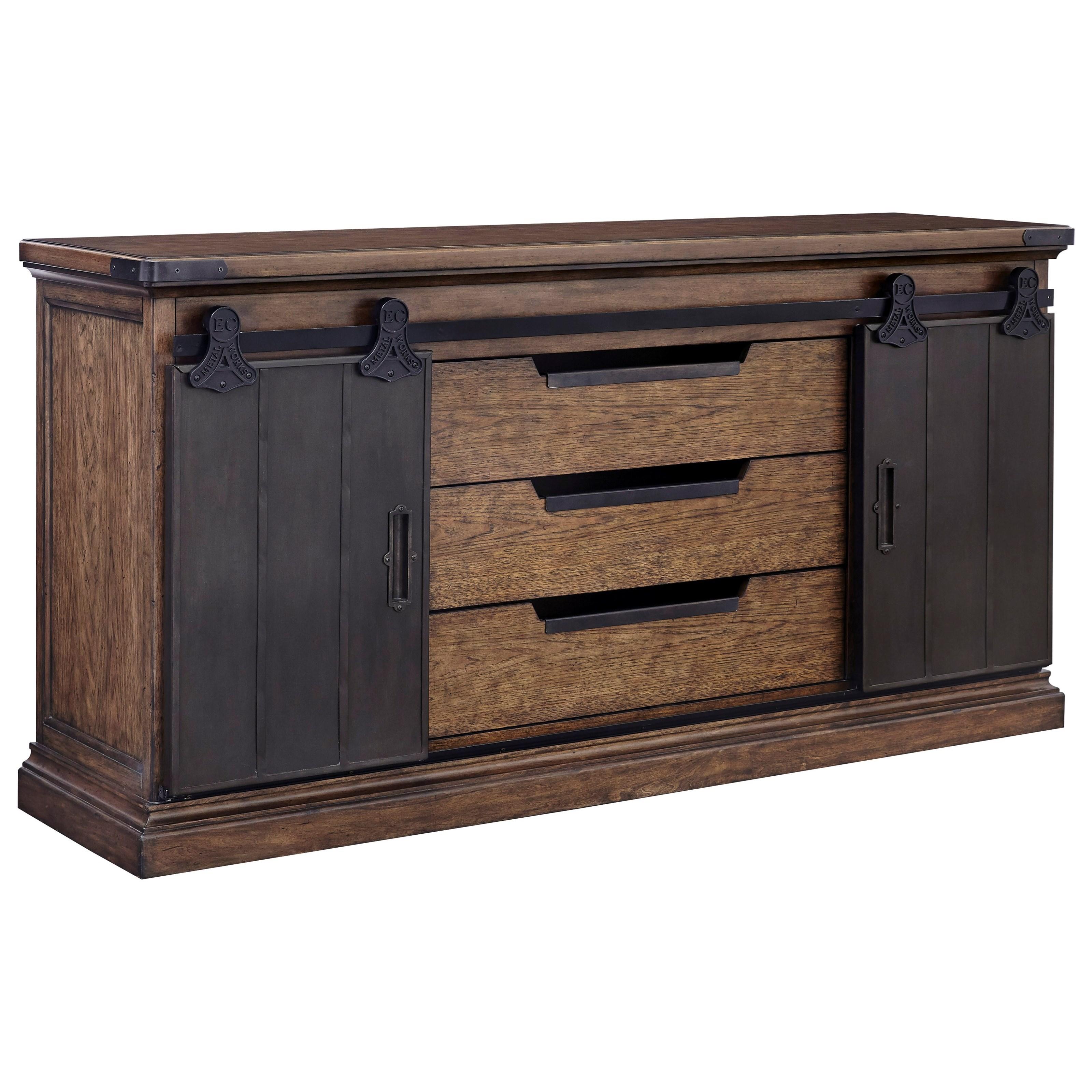 pulaski furniture weston loft buffet with 2 sliding barn door style doors reeds furniture. Black Bedroom Furniture Sets. Home Design Ideas
