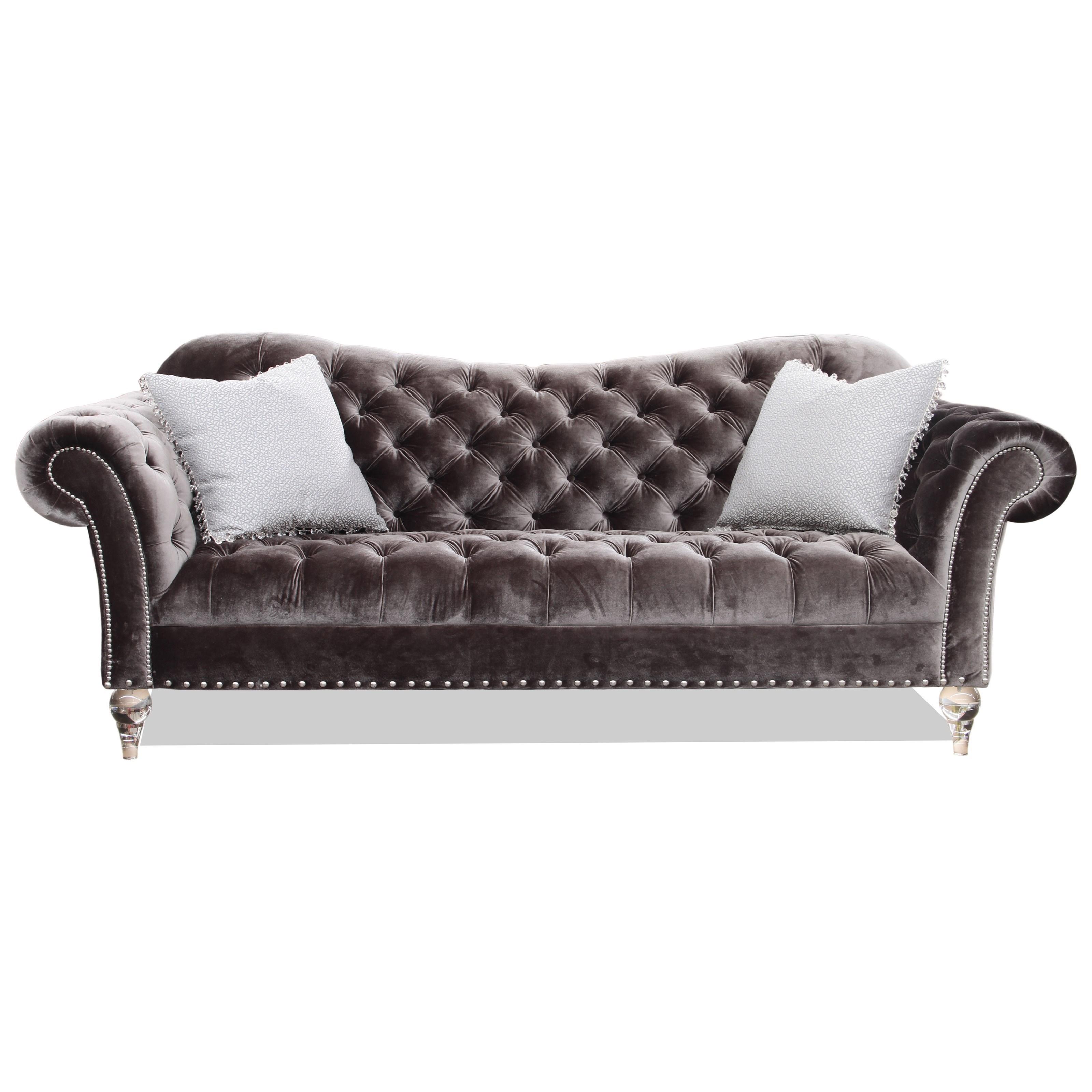 Rachlin Classics Vanna Traditional Sofa With Deep Tufted