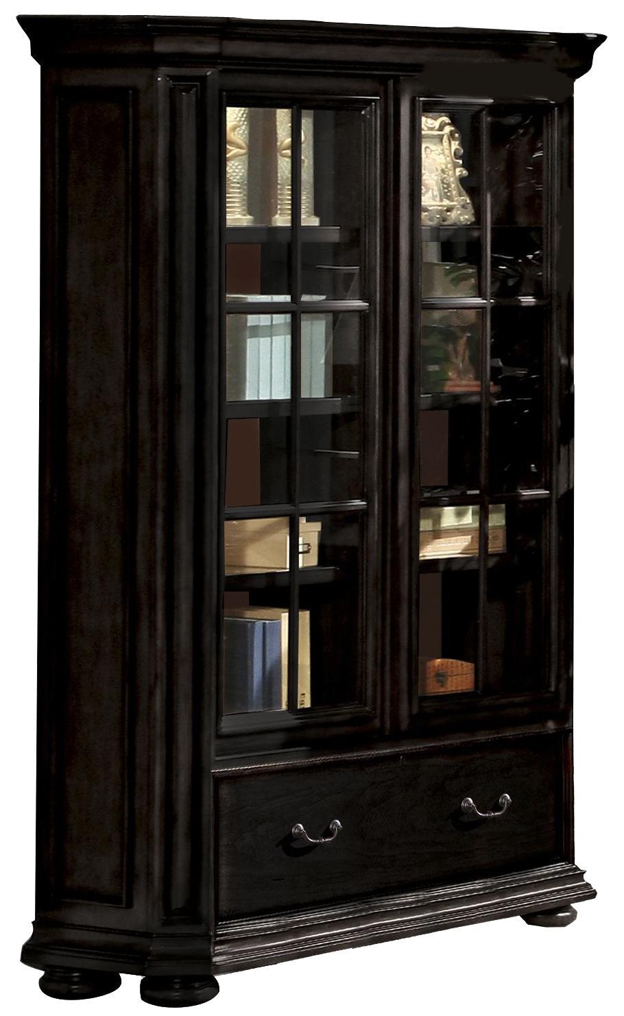riverside furniture allegro rs 44734 sliding door bookcase dunk bright furniture bookcase. Black Bedroom Furniture Sets. Home Design Ideas