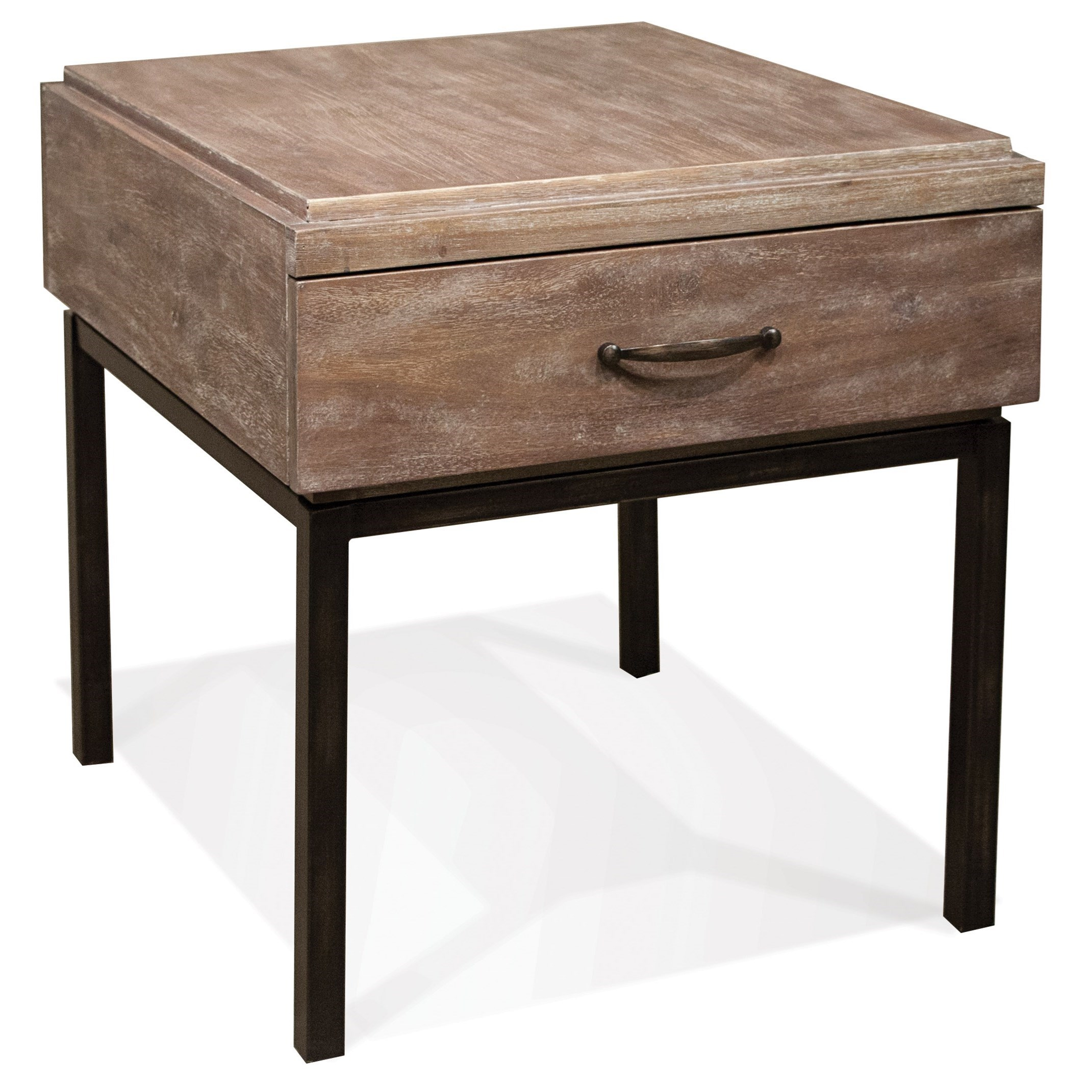 Riverside furniture axis 1 drawer side table with metal for Side table base