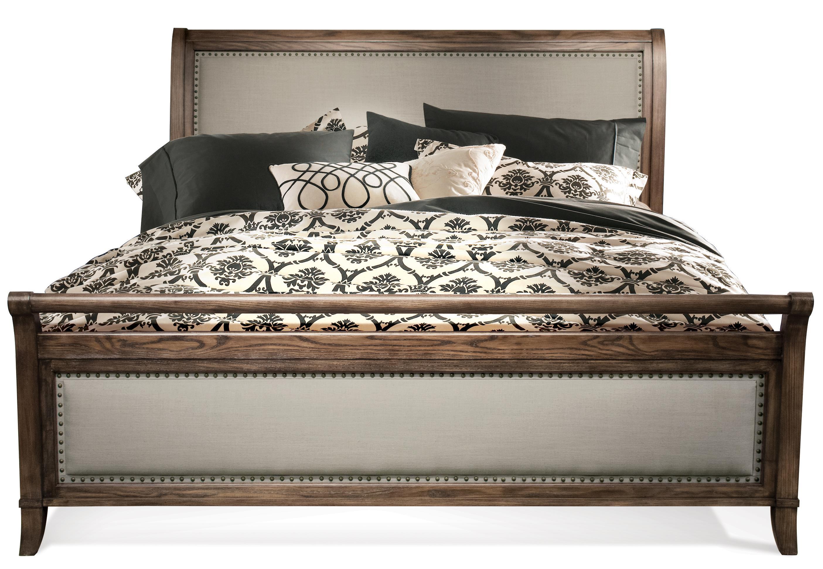 Riverside furniture belmeade king sleigh upholstered bed hudson 39 s furniture sleigh beds for Upholstered sleigh bedroom set