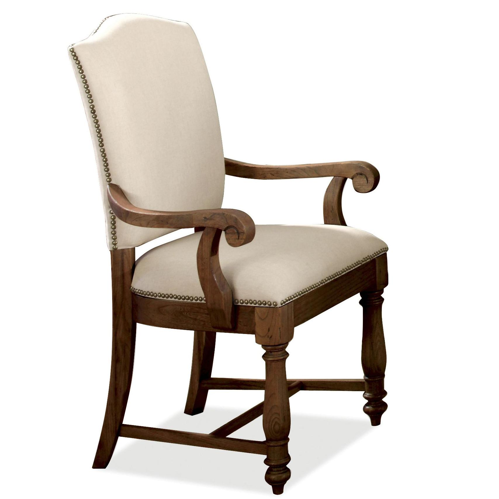 Wonderful image of Castlewood Upholstered Dining Arm Chair with Nailhead Trim and Wooden  with #341A0B color and 1708x1708 pixels