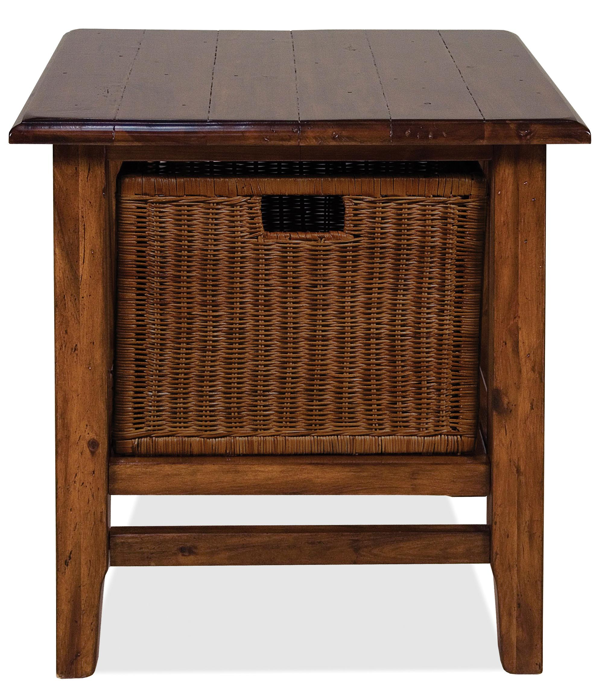 Rectangular End Table with Storage Basket