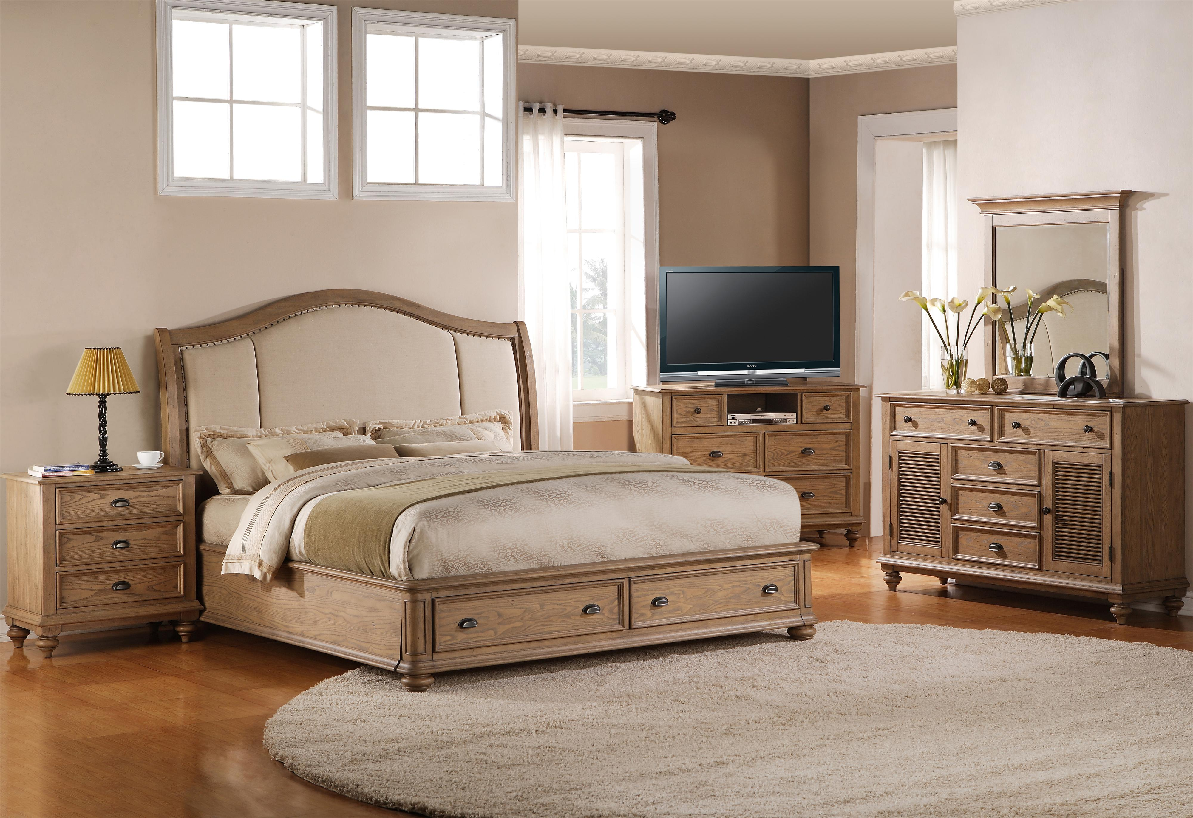 Coventry King Upholstered Headboard Bed With Storage Footboard By Riverside Furniture Wolf