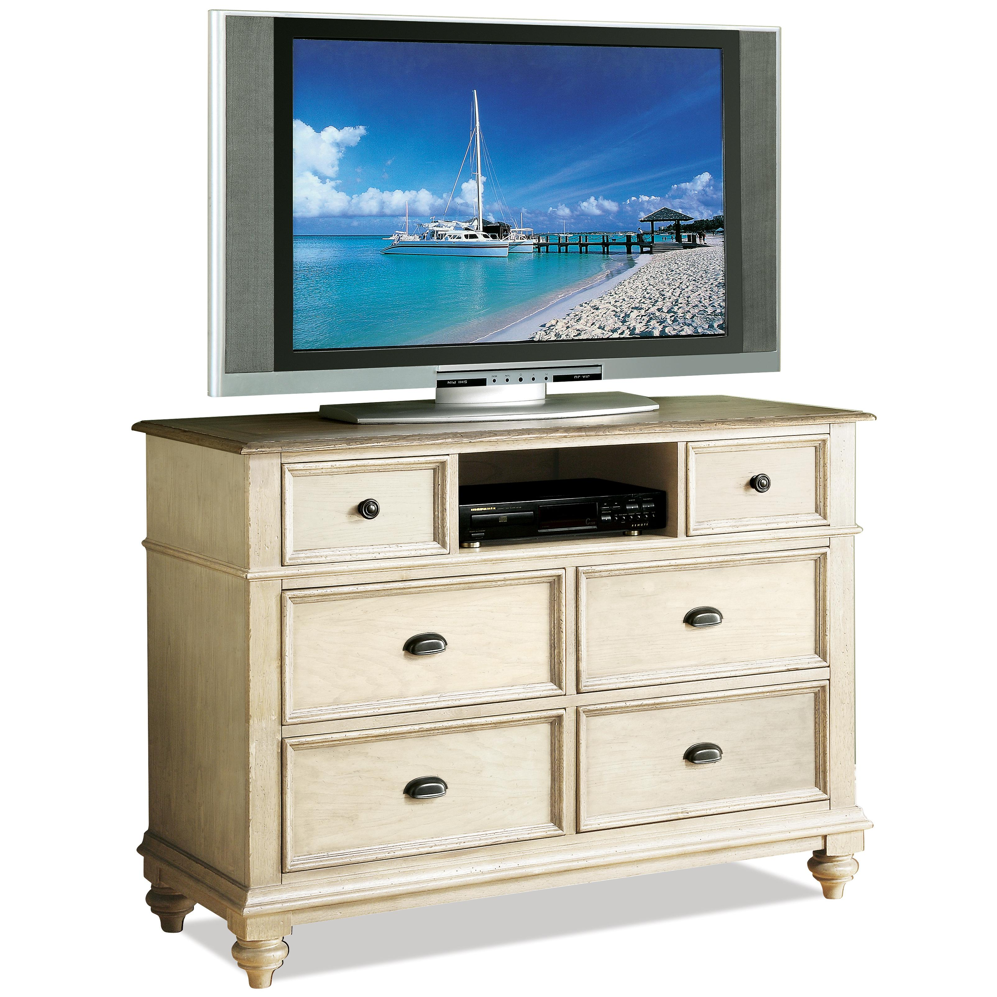 Riverside Furniture Coventry Two Tone 32566 6 Drawer Entertainment Chest Dunk Bright
