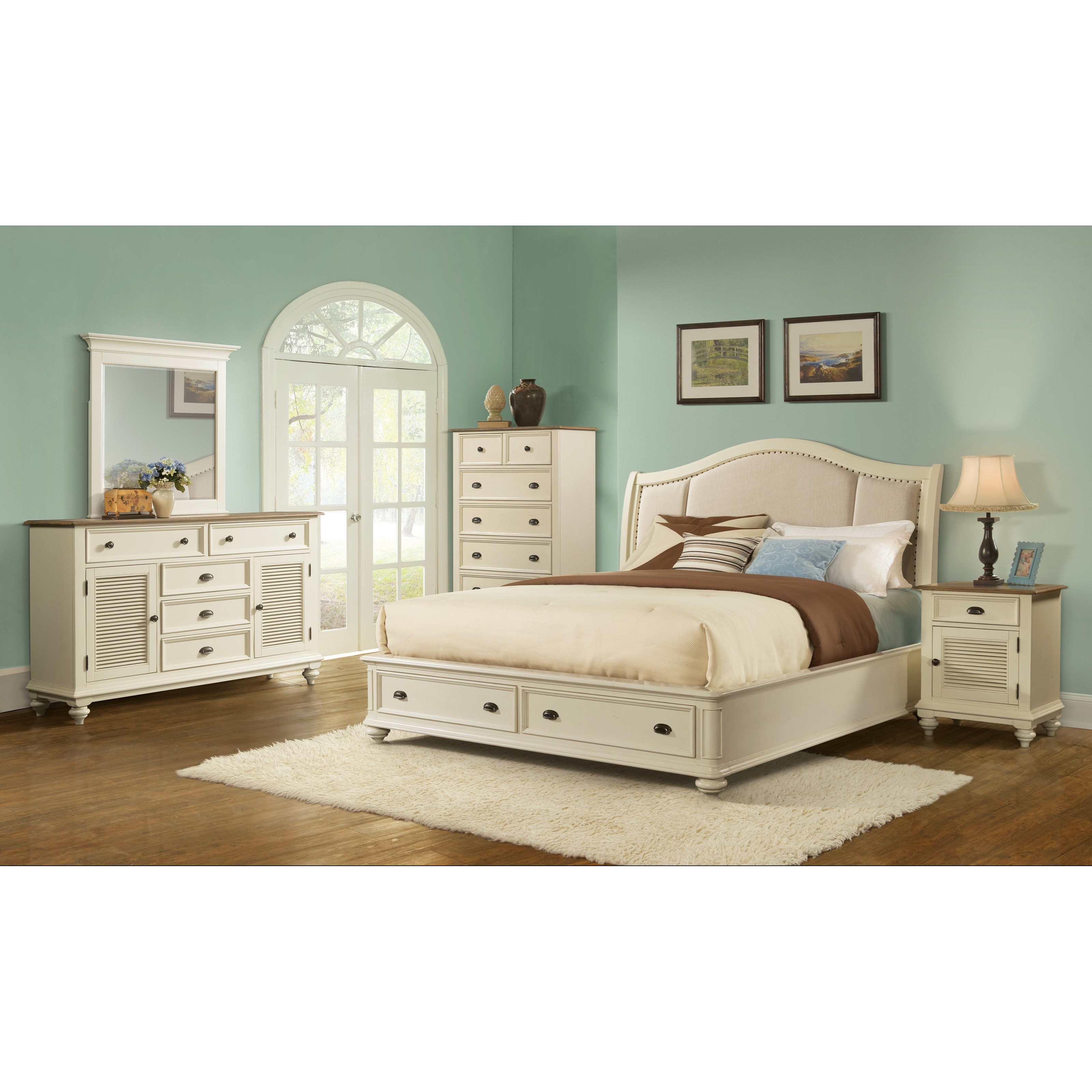 Riverside Furniture Coventry Two Tone Queen Sleigh Upholstered Storage Bed Belfort Furniture