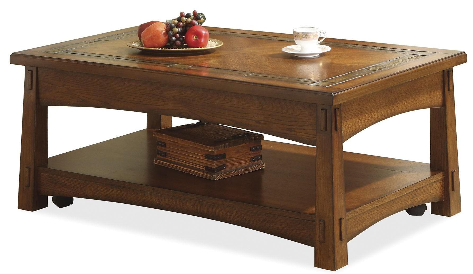 Riverside Furniture Craftsman Home Lift Top Coffee Table With Slate Tile Border Wayside