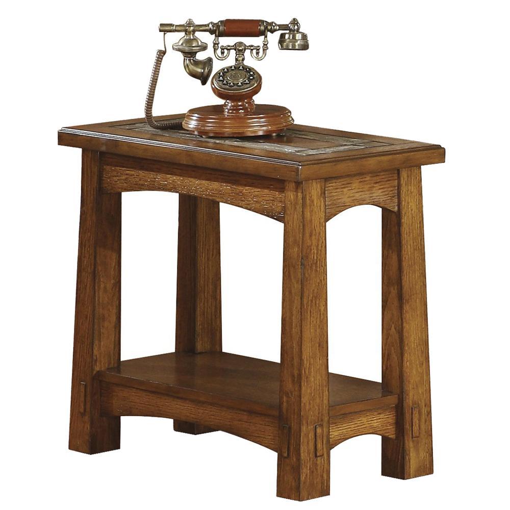 riverside furniture craftsman home 2911 chairside table with slate tile boarder hudson 39 s. Black Bedroom Furniture Sets. Home Design Ideas