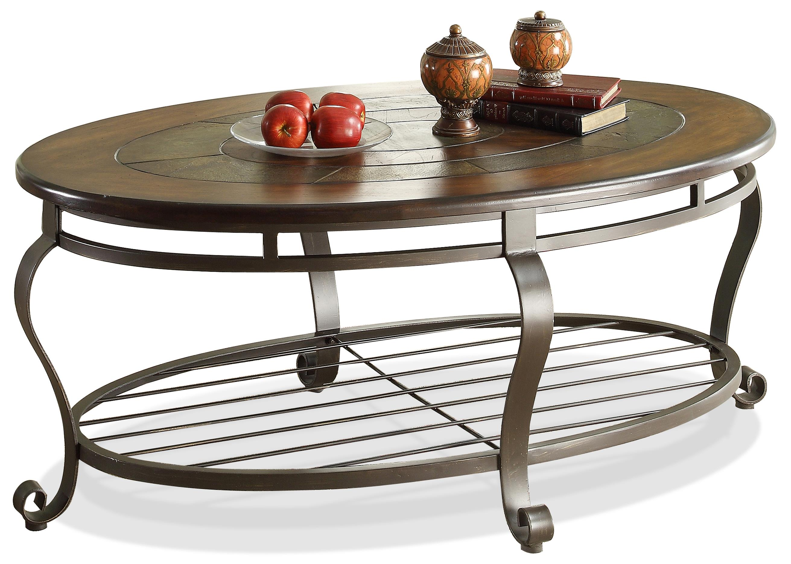Riverside furniture eastview slate top oval coffeetable for Coffee tables value city furniture