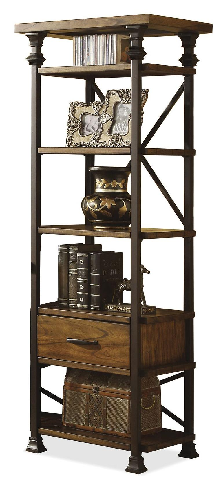 riverside furniture lennox street metal frame etagere with. Black Bedroom Furniture Sets. Home Design Ideas