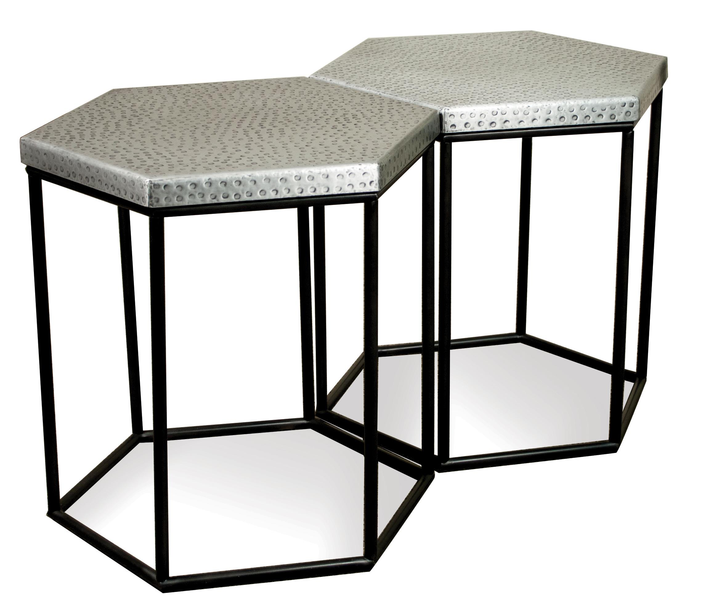 Riverside furniture lyric 19209 industrial hexagon side for Bright colored side tables