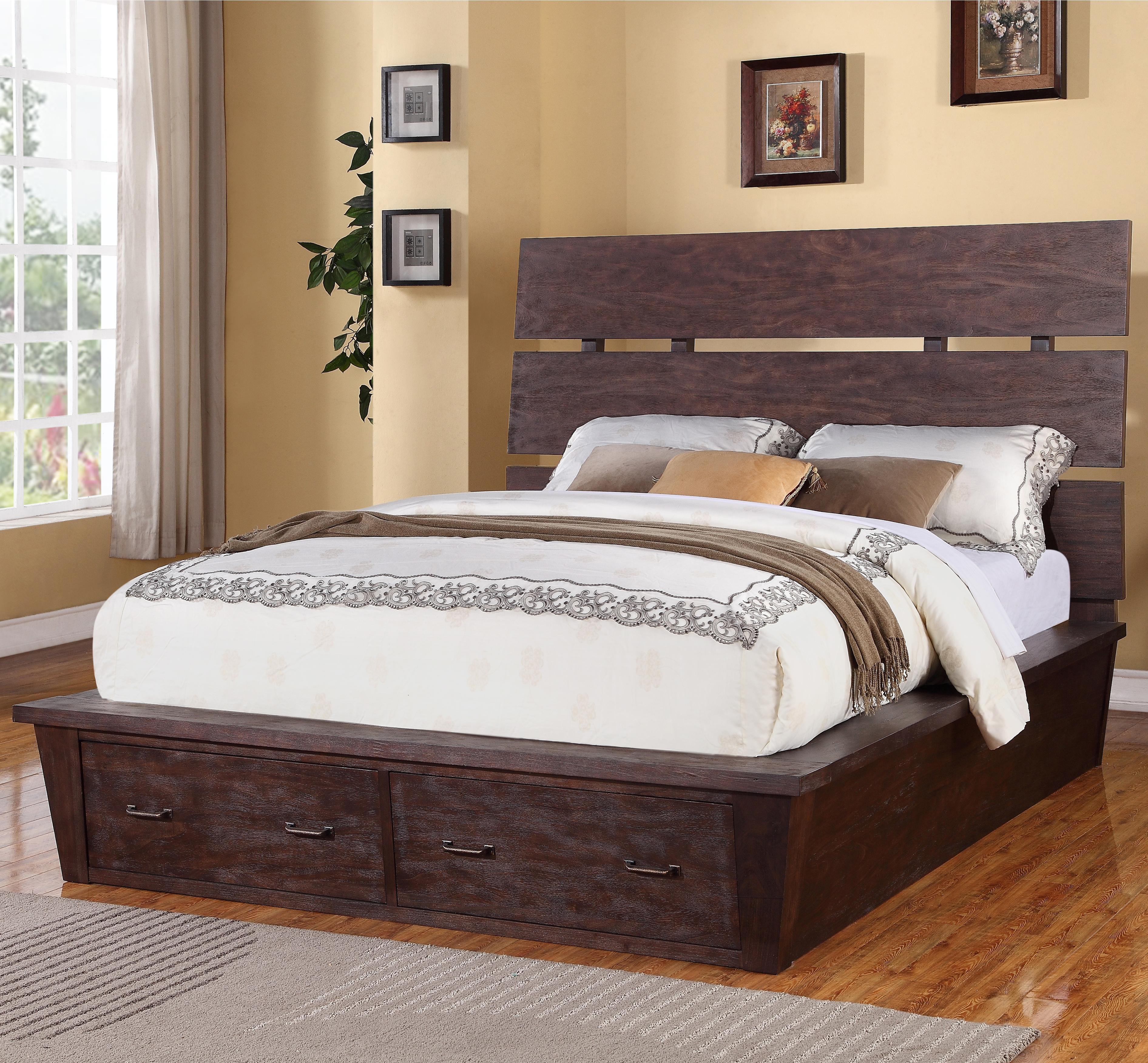 promenade king platform storage bed with 2 drawers by riverside furniture wolf furniture. Black Bedroom Furniture Sets. Home Design Ideas