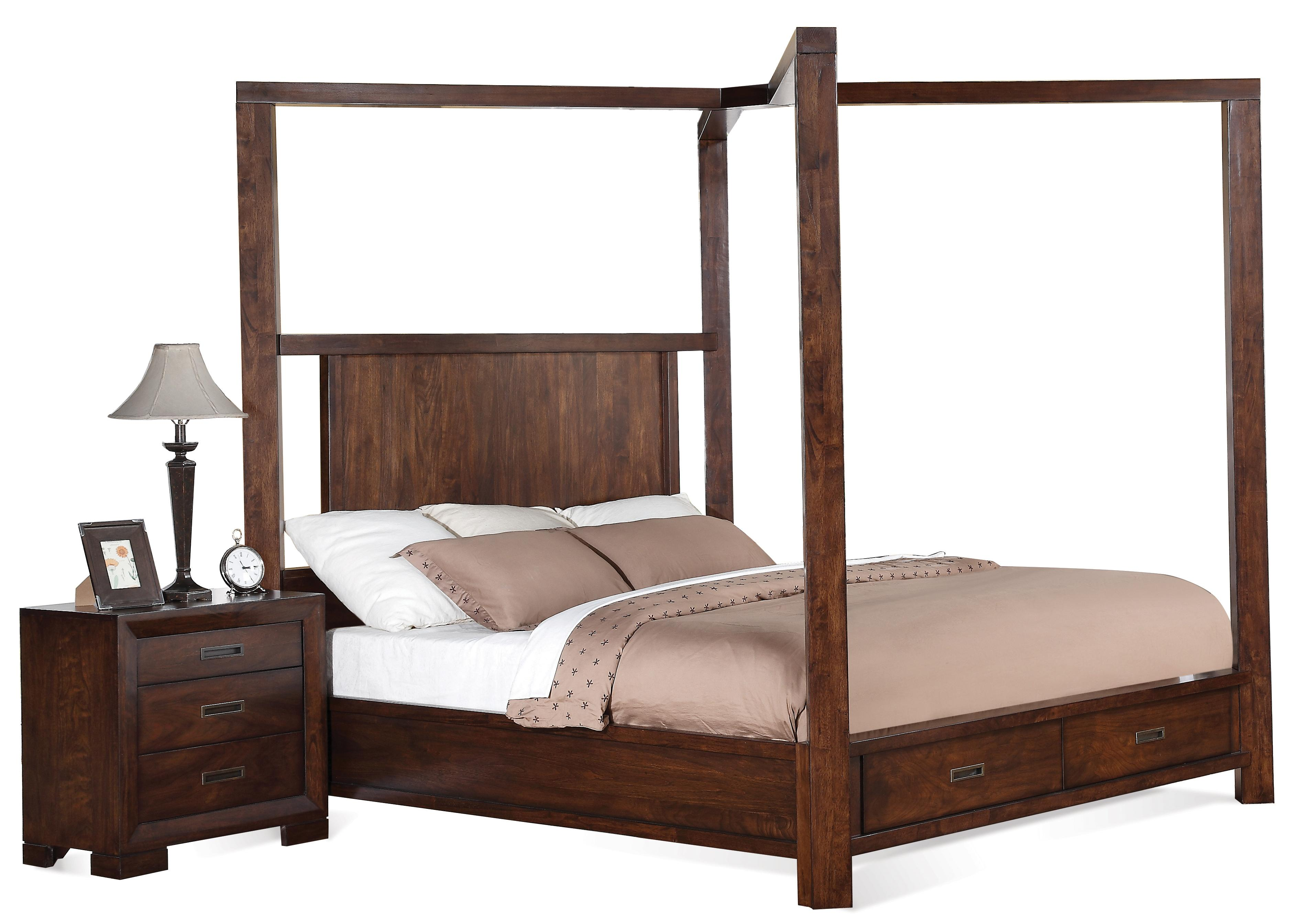 Riata Queen Canopy Storage Bed By Riverside Furniture