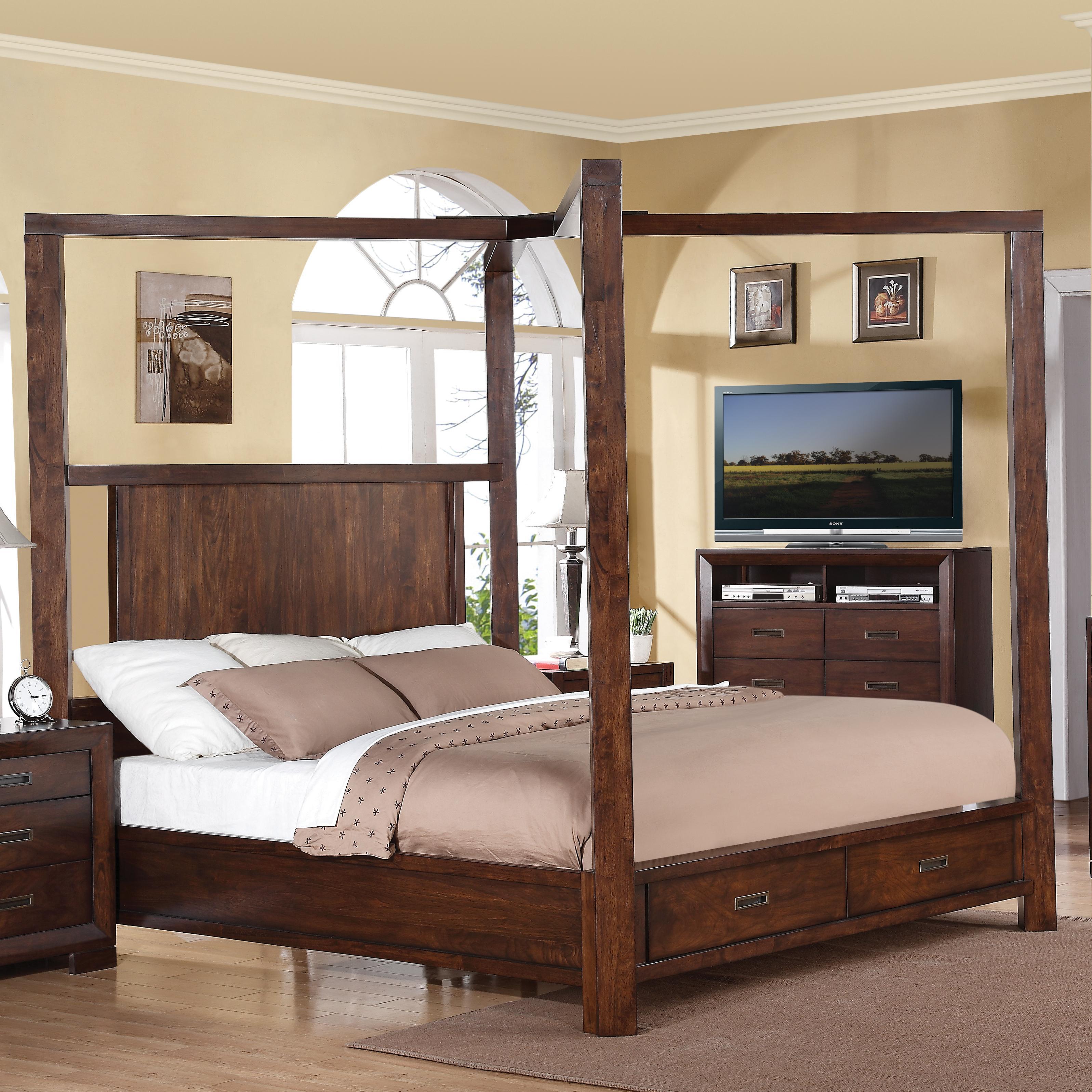 Riverside furniture riata queen canopy storage bed for Hudsons furniture