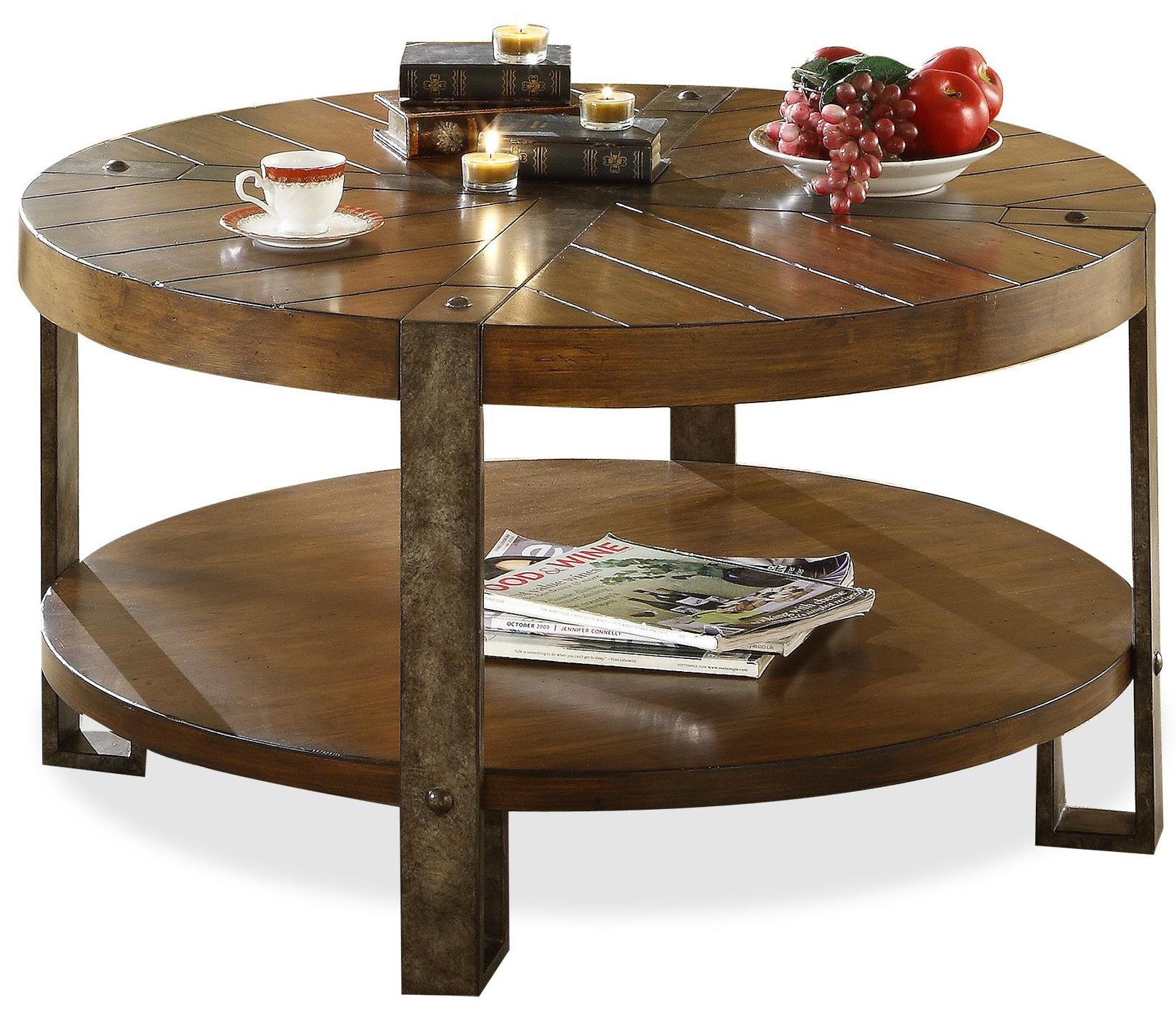 Riverside furniture sierra round wooden coffee table with for Coffee tables value city furniture