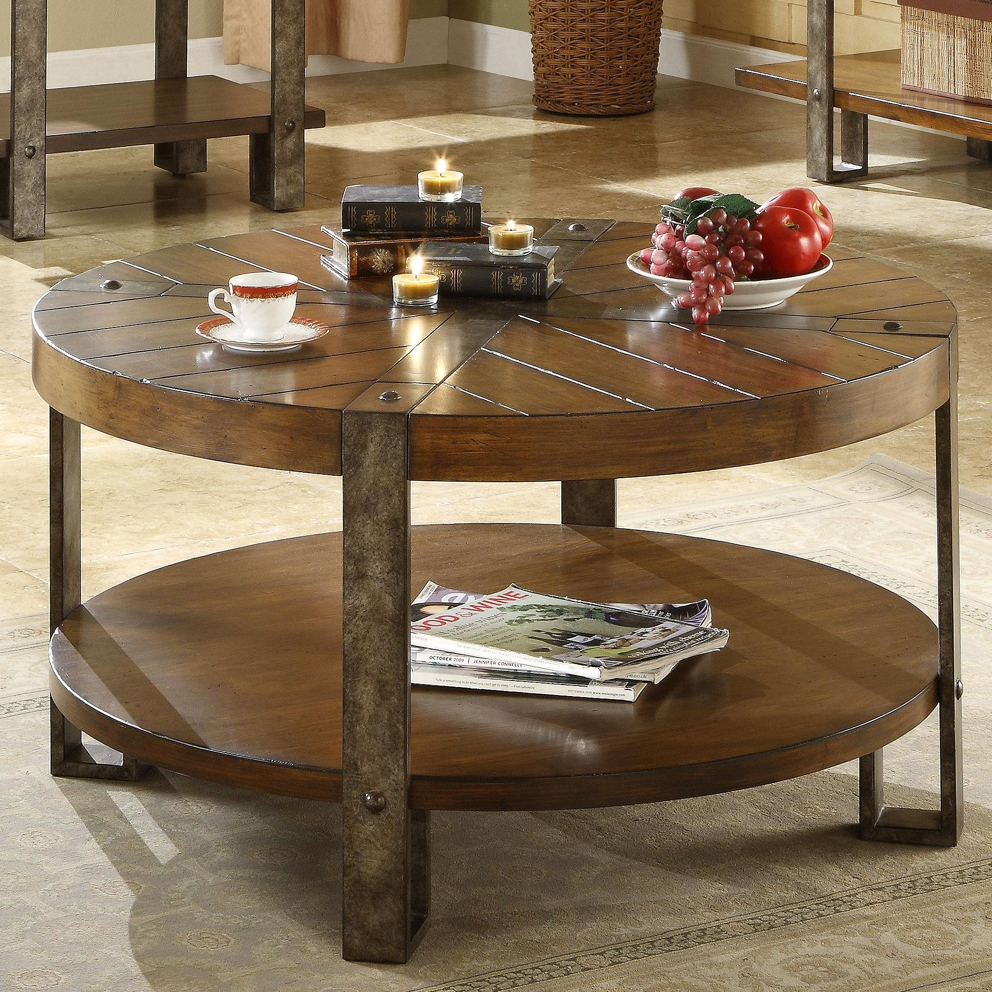 Riverside Furniture Sierra Round Wooden Coffee Table with