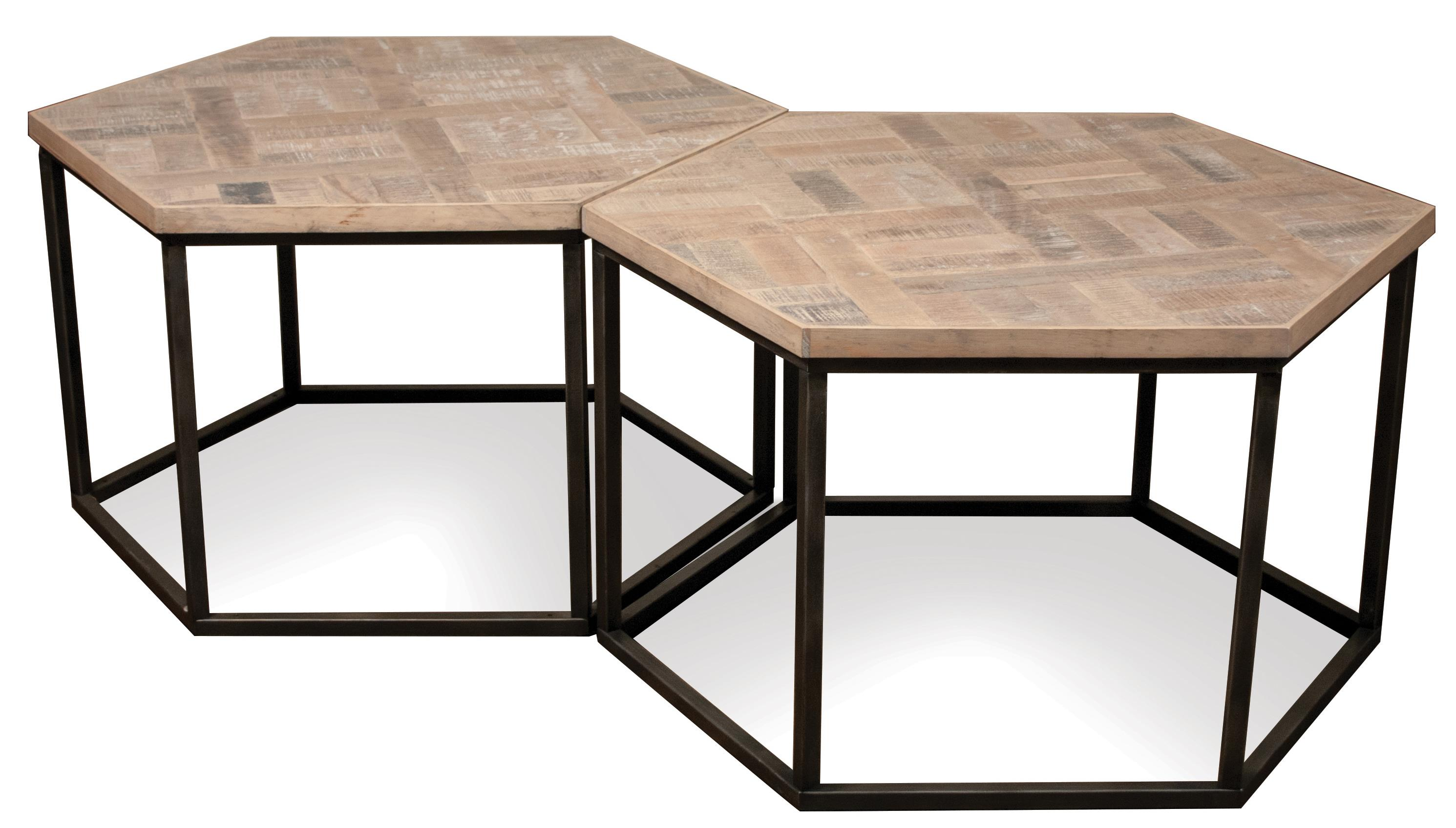Riverside Furniture Thornhill 18301 Hexagon Coffee Table W Metal Base Dunk Bright Furniture