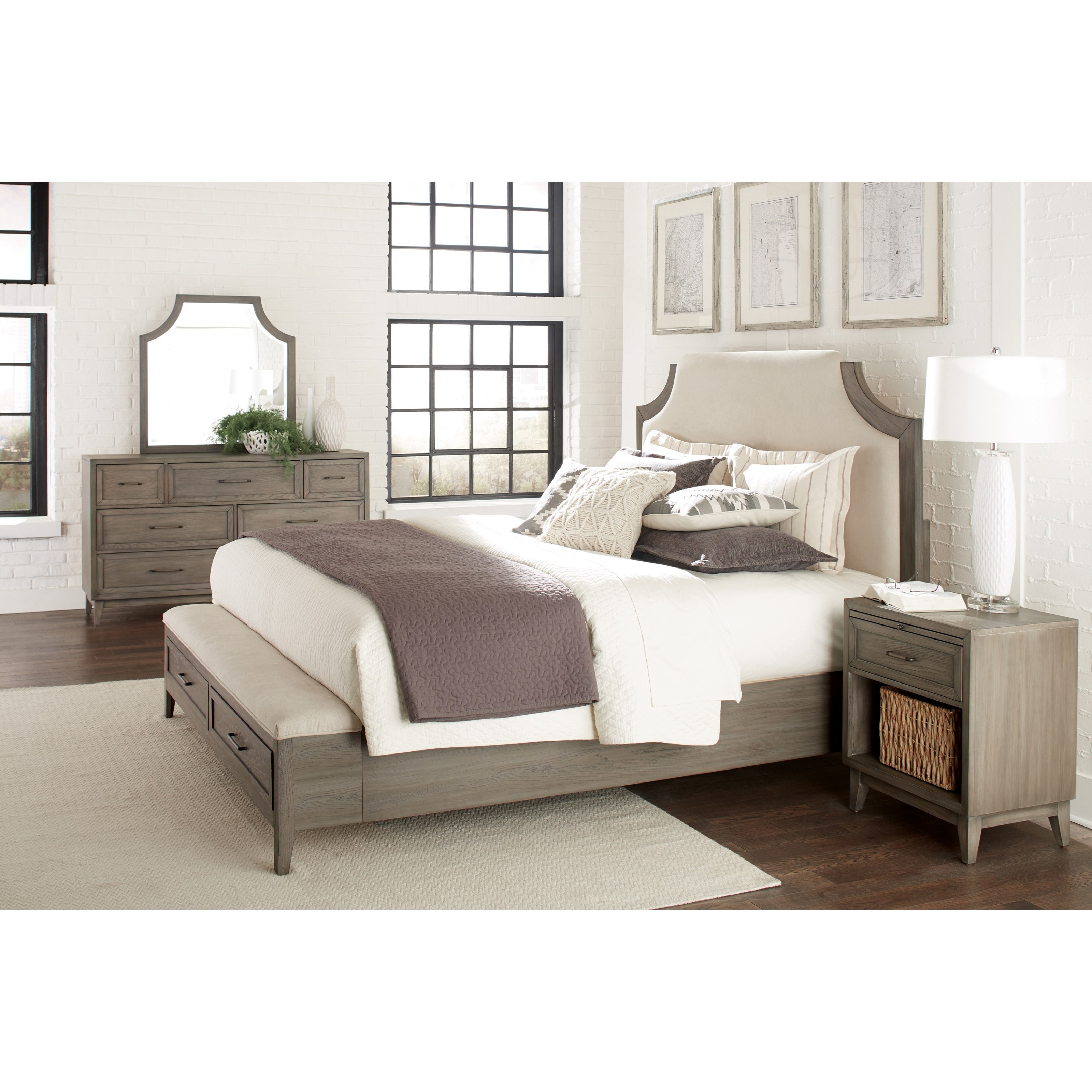 Riverside Furniture Vogue California King Upholstered Bed With Storage Bench Footboard Zak 39 S