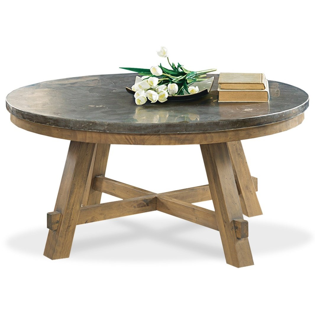 Riverside Furniture Weatherford Round Cocktail Table With Authentic Bluestone Top Hudson 39 S