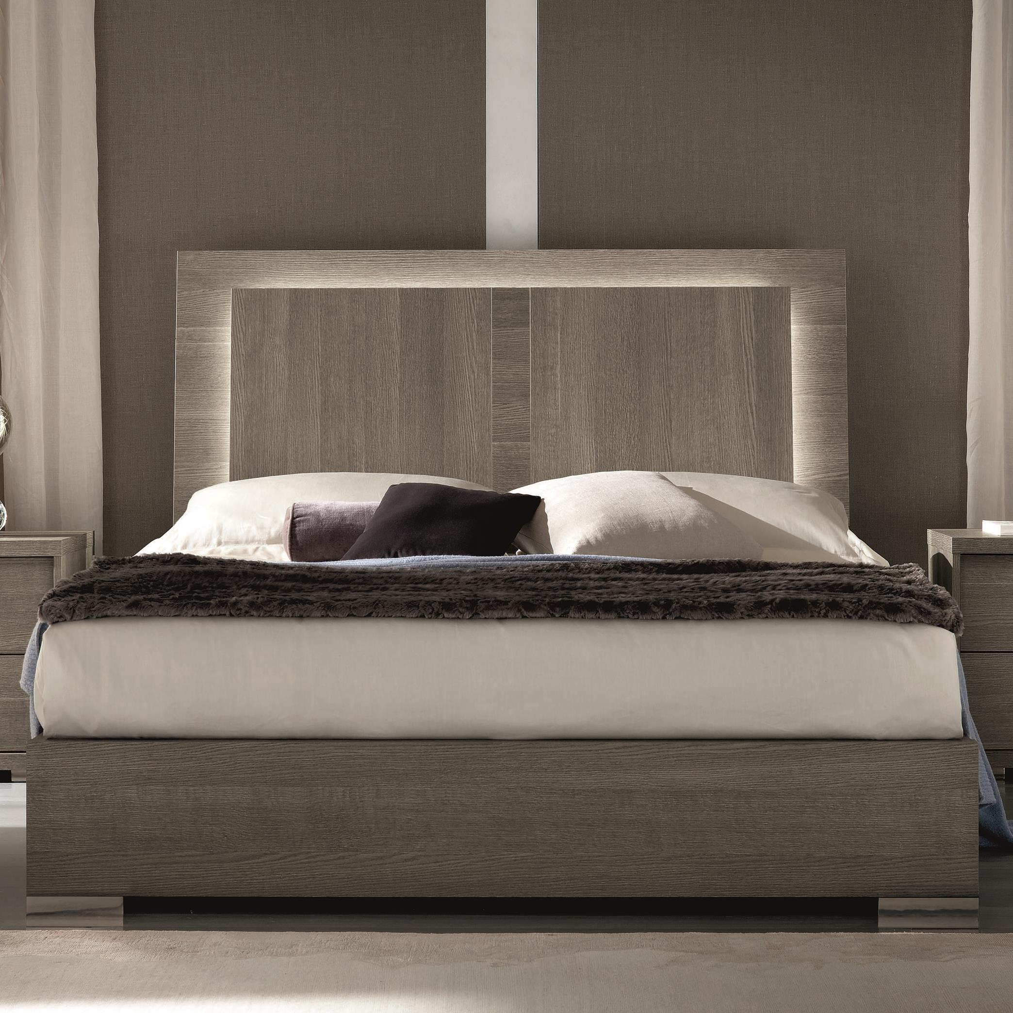 Alf italia tivoli king weathered grey bed with built in for Lighted platform bed