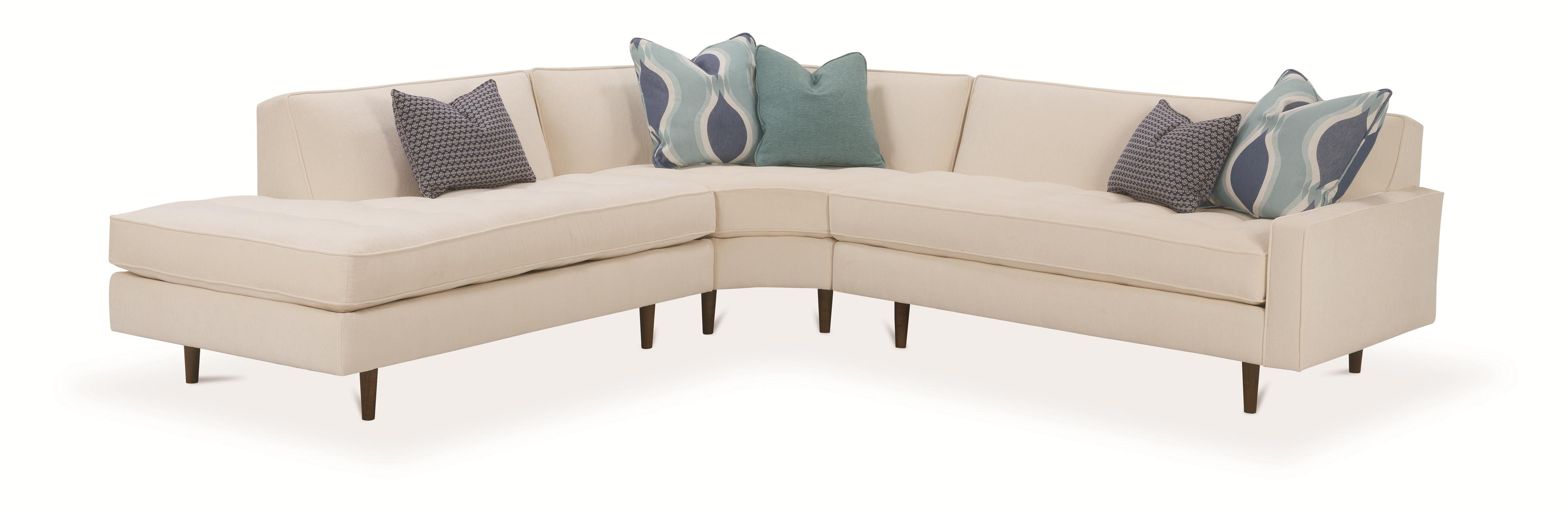 Rowe brady contemporary 3 piece sectional sofa with track for 3 piece sectional sofa