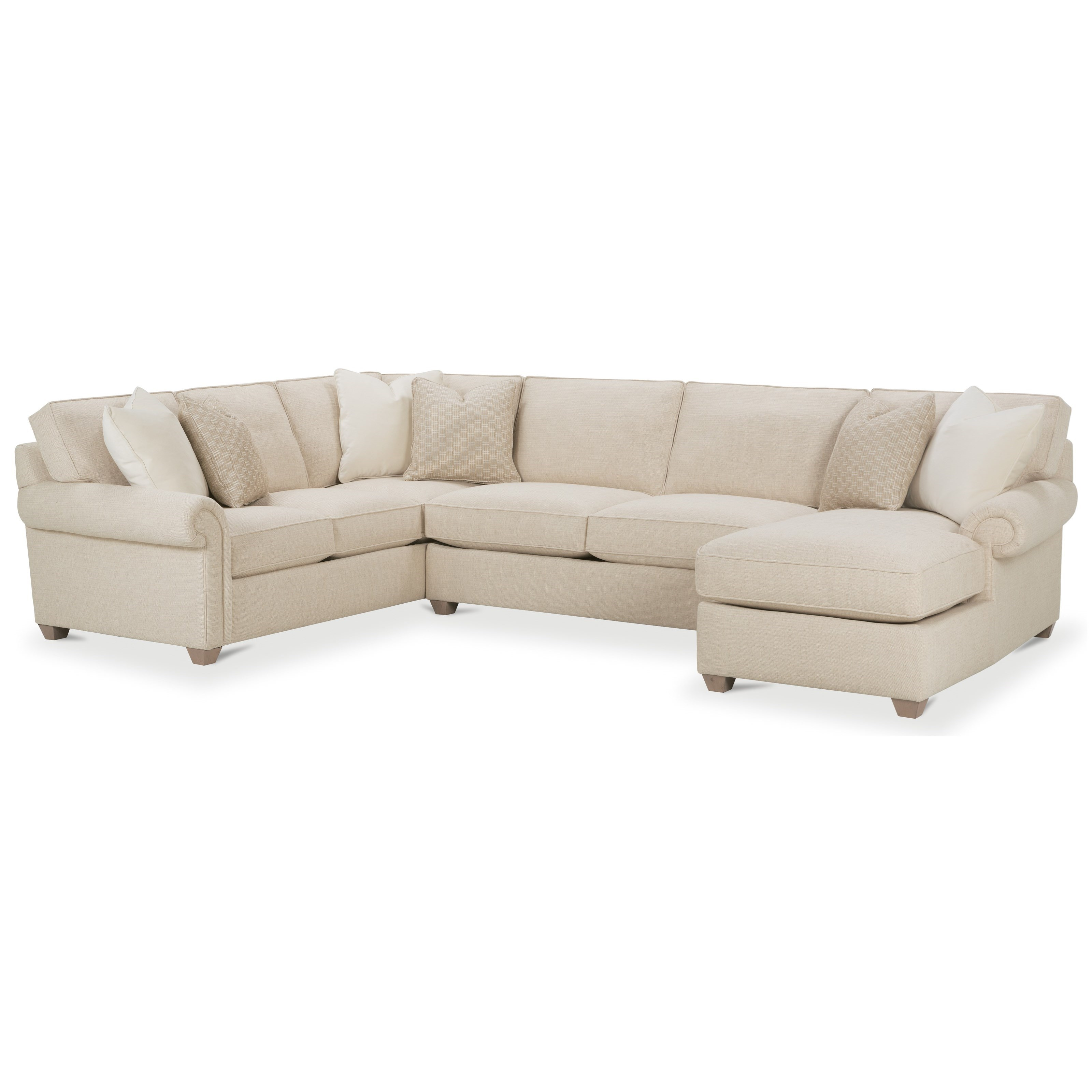 Rowe morgan traditional three piece sectional sofa with for Traditional sectional